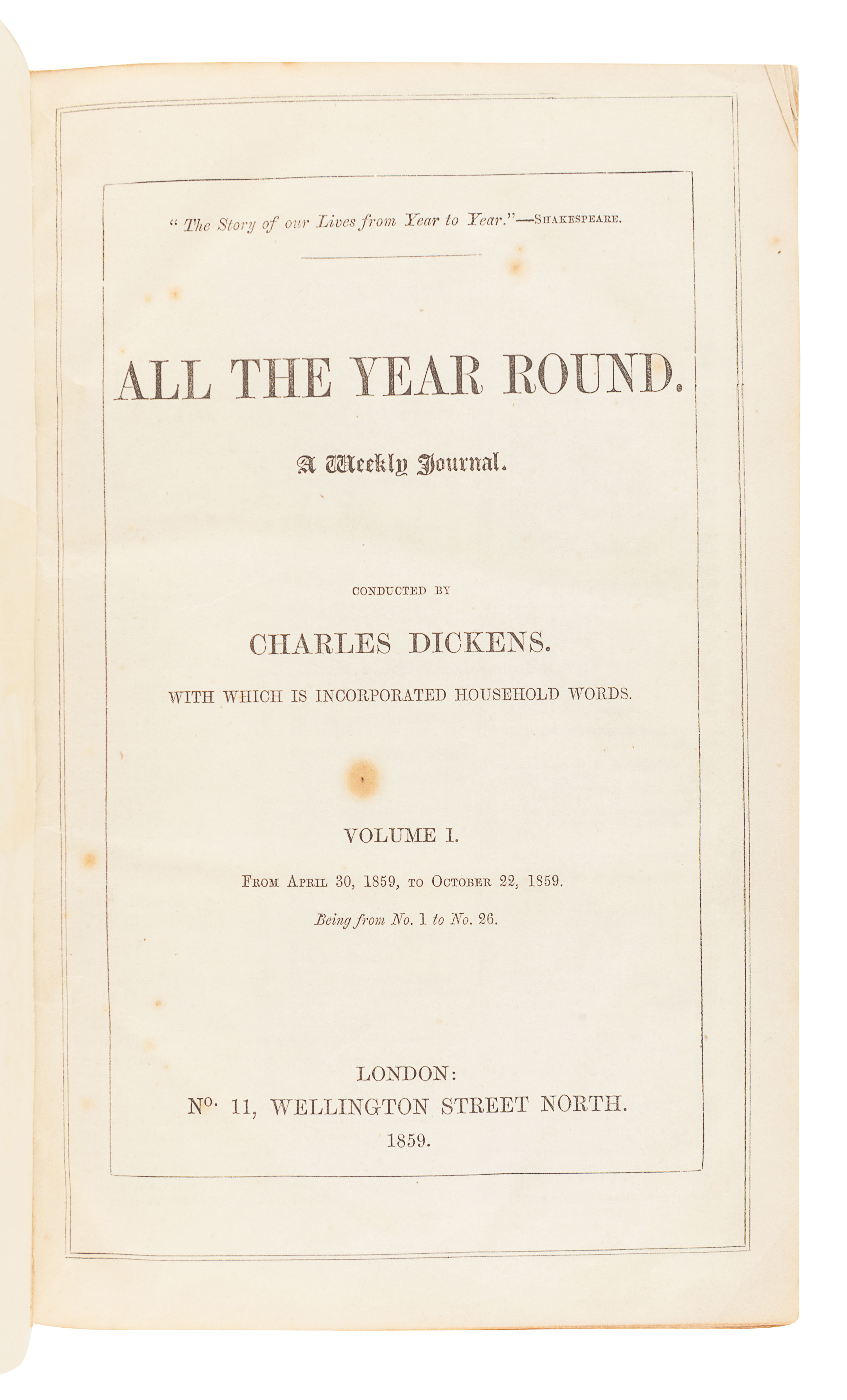 DICKENS, Charles (1812-1870), editor. All the Year Round. A Weekly Journal. London: C. Whiting for N