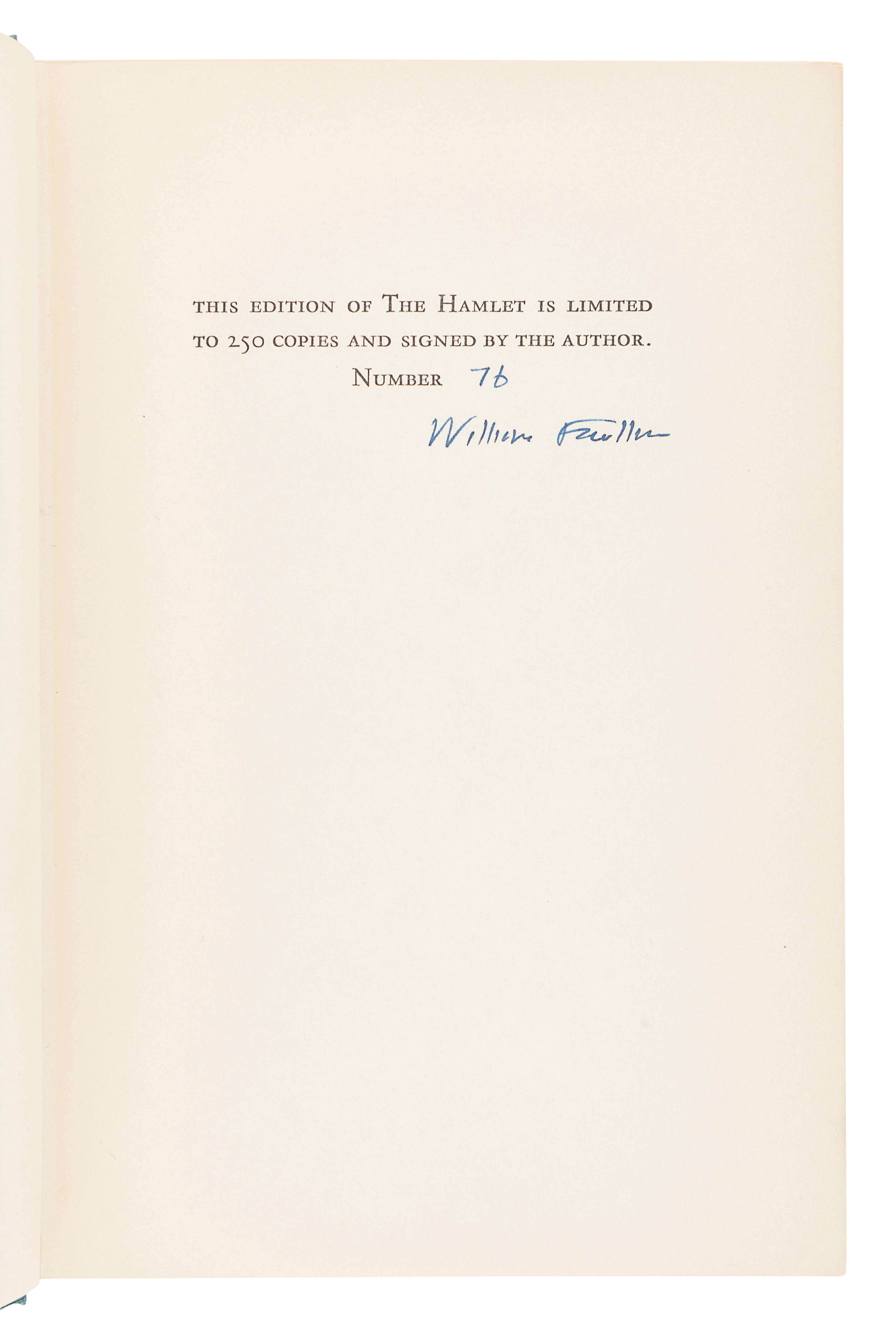 FAULKNER, William (1897-1962). The Hamlet. New York: Random House, 1940.