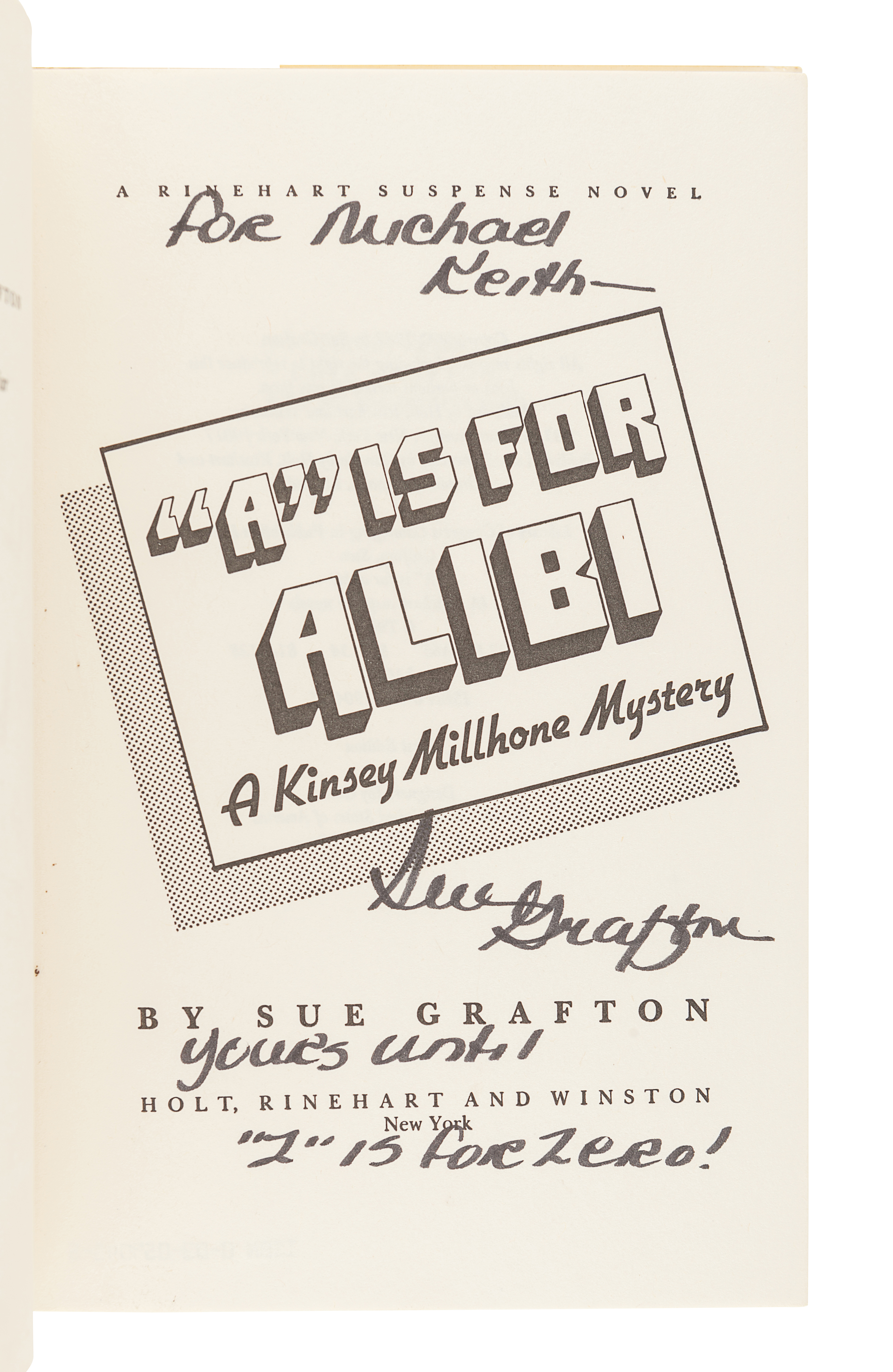 GRAFTON, Sue (1940-2017). A complete run of the Kinsey Millhone Alphabet Series. All FIRST EDITIONS - Image 2 of 2