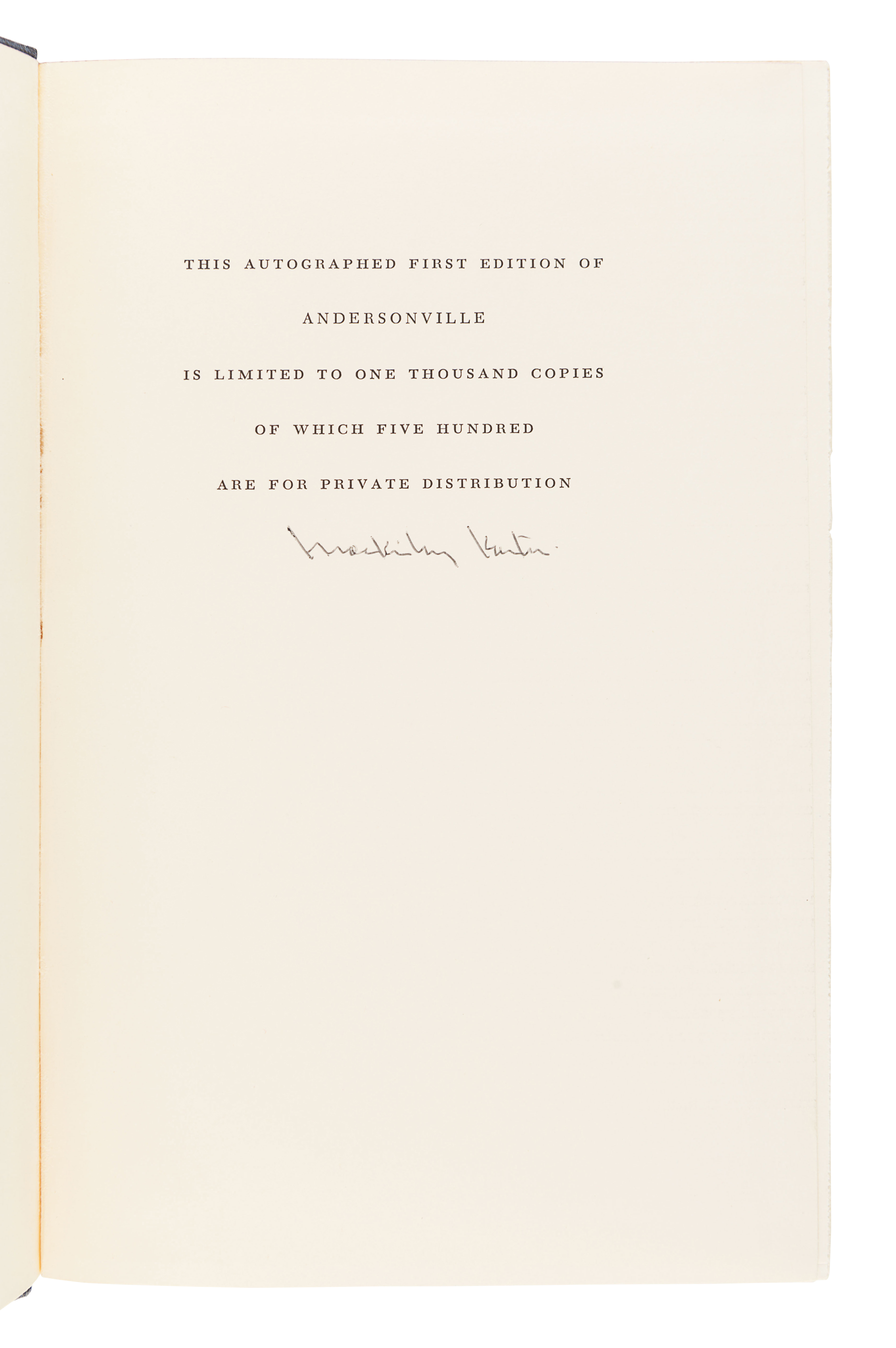 [CIVIL WAR]. KANTOR, MacKinlay (1904-1977). Andersonville. Cleveland and New York: The World Publish