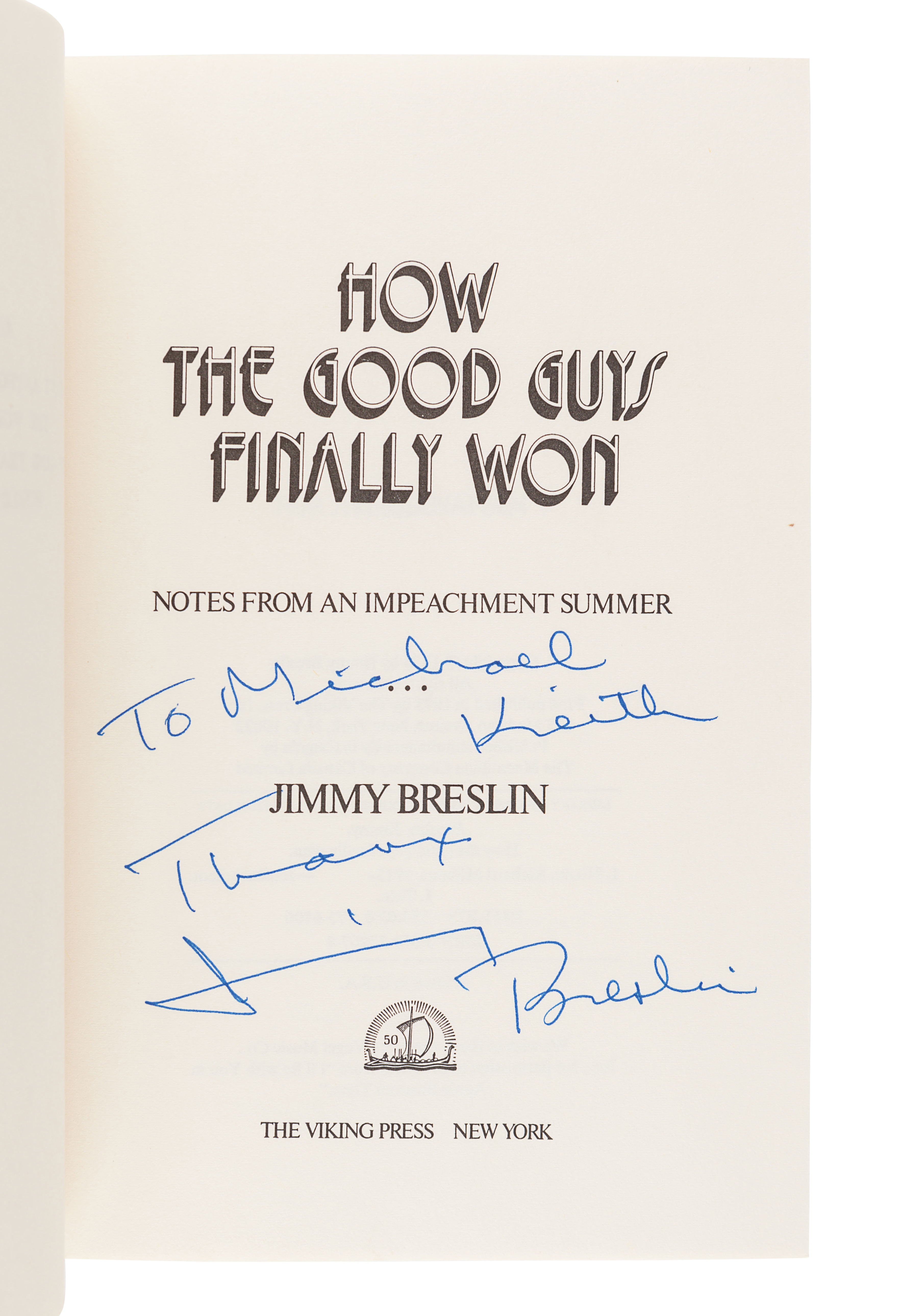 [BRESLIN, Jimmy (1928-2017)]. A group of 4 FIRST EDITIONS by Breslin, comprising: - Image 4 of 9
