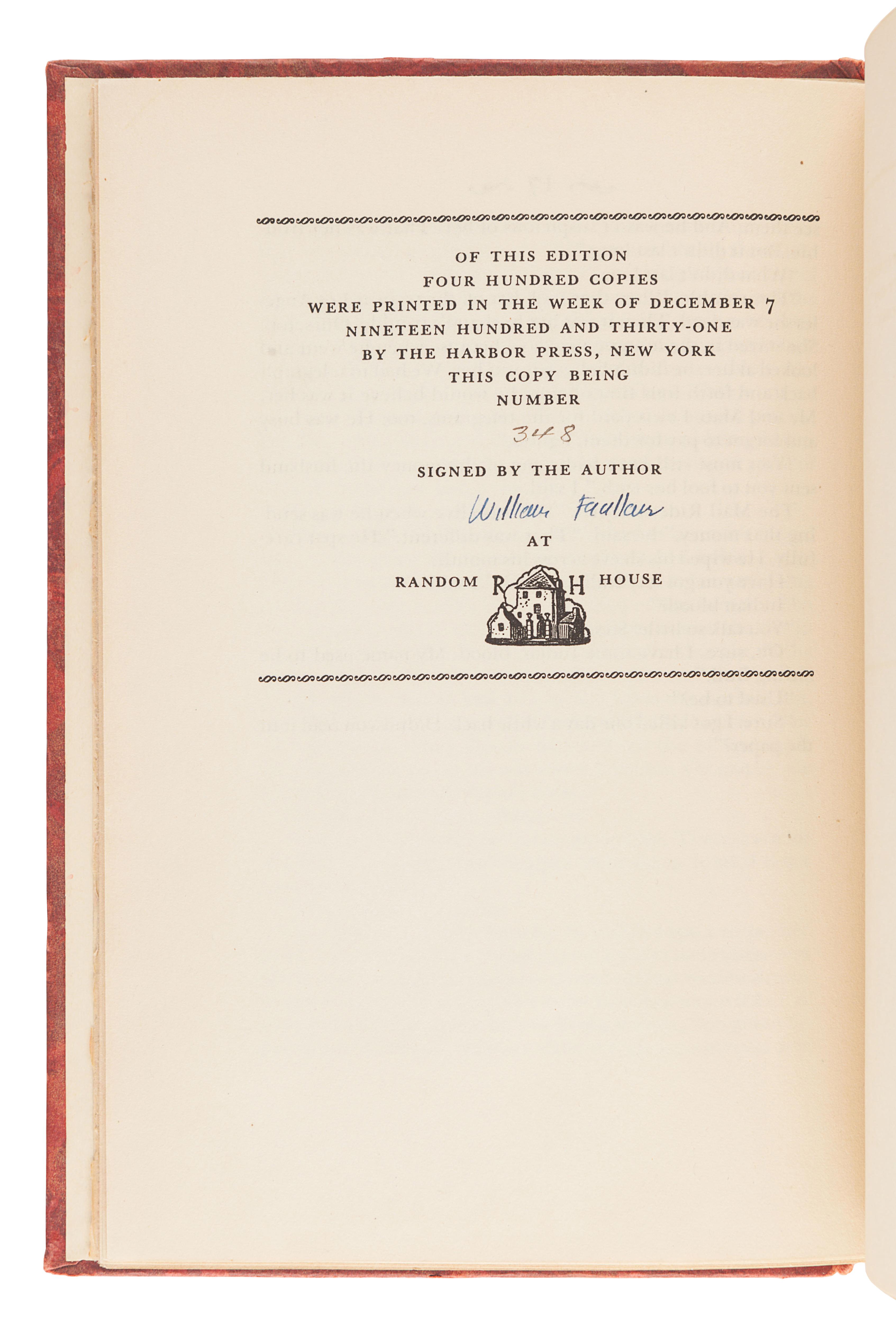 FAULKNER, William (1897-1962). Idyll in the Desert. New York: Random House, 1931.