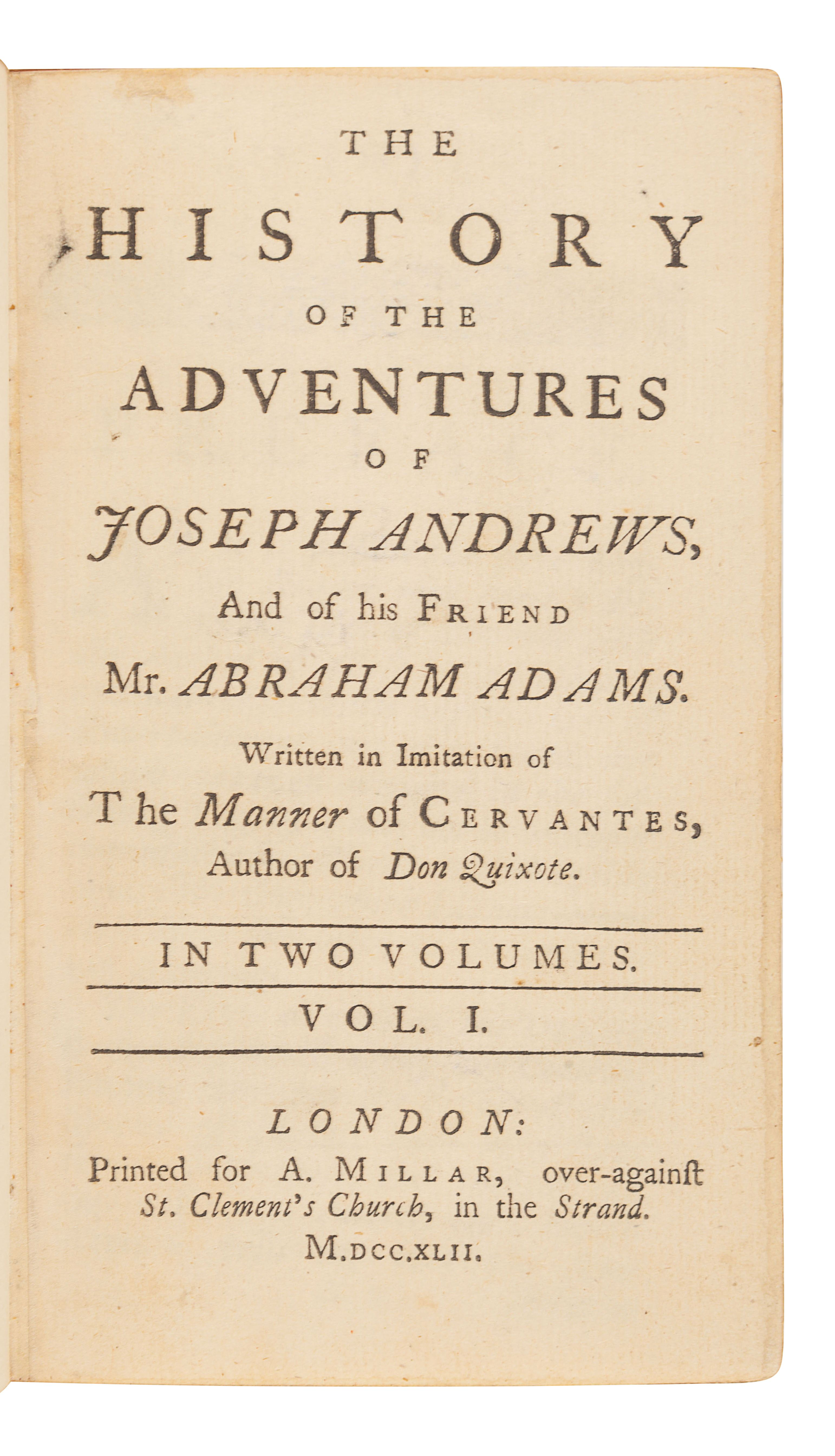 [FIELDING, Henry (1707-1754)]. The History of the Adventures of Joseph Andrews, and of his Friend M - Image 2 of 2