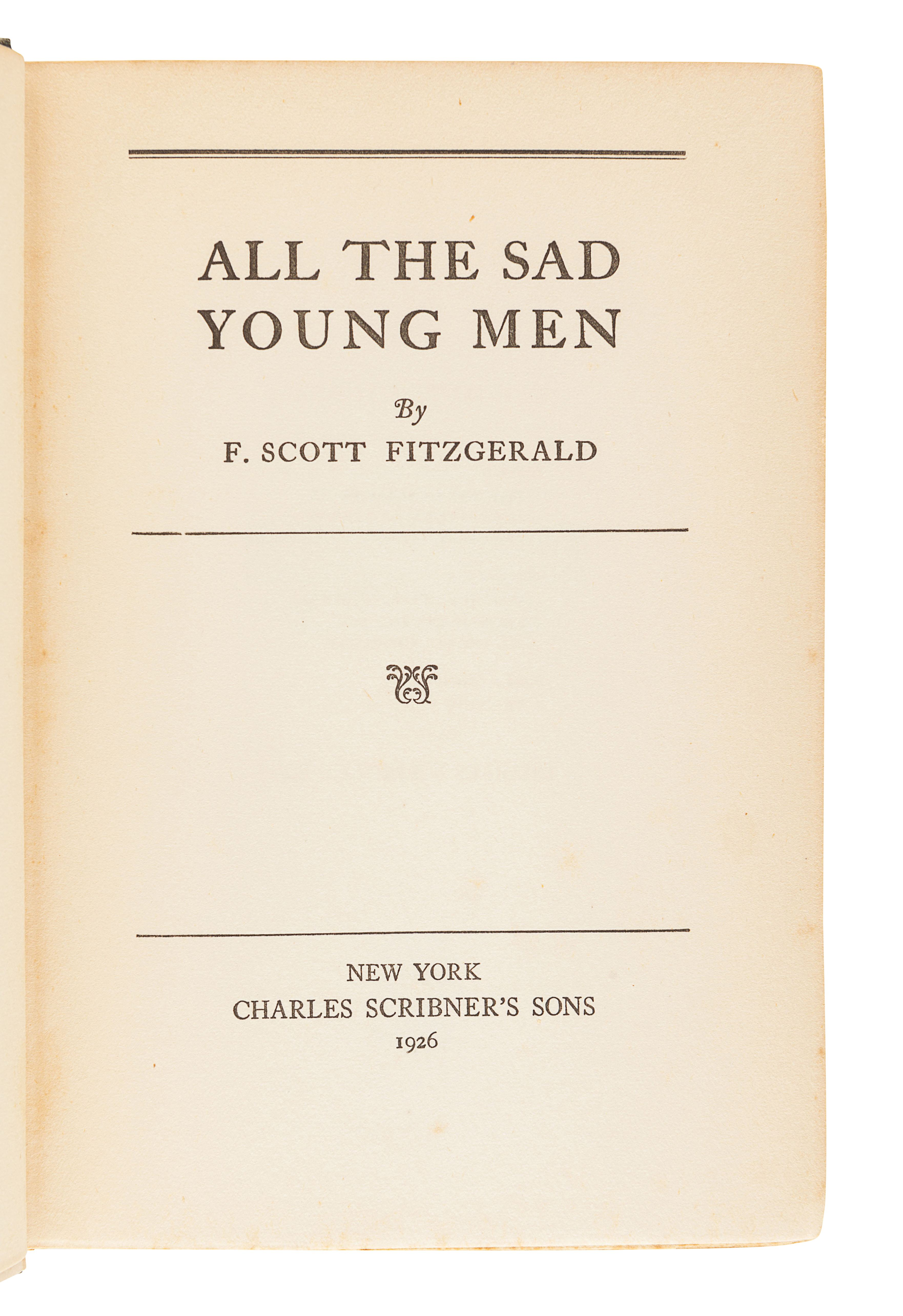 FITZGERALD, F. Scott (1896-1940). All the Sad Young Men. New York: Scribner's, 1926. - Image 2 of 3