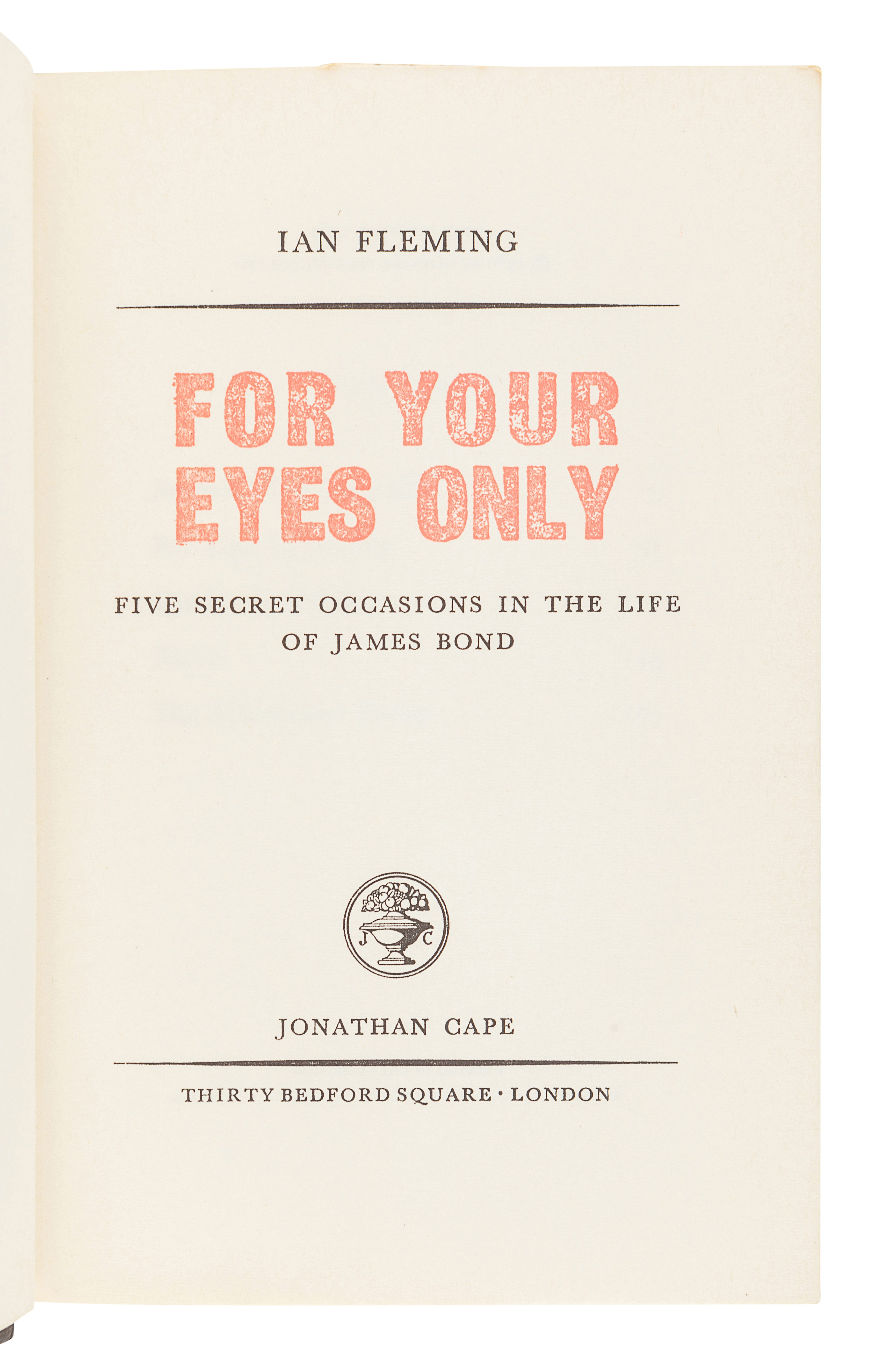 FLEMING, Ian (1908-1964). For Your Eyes Only. London: Jonathan Cape, 1960. - Image 2 of 3