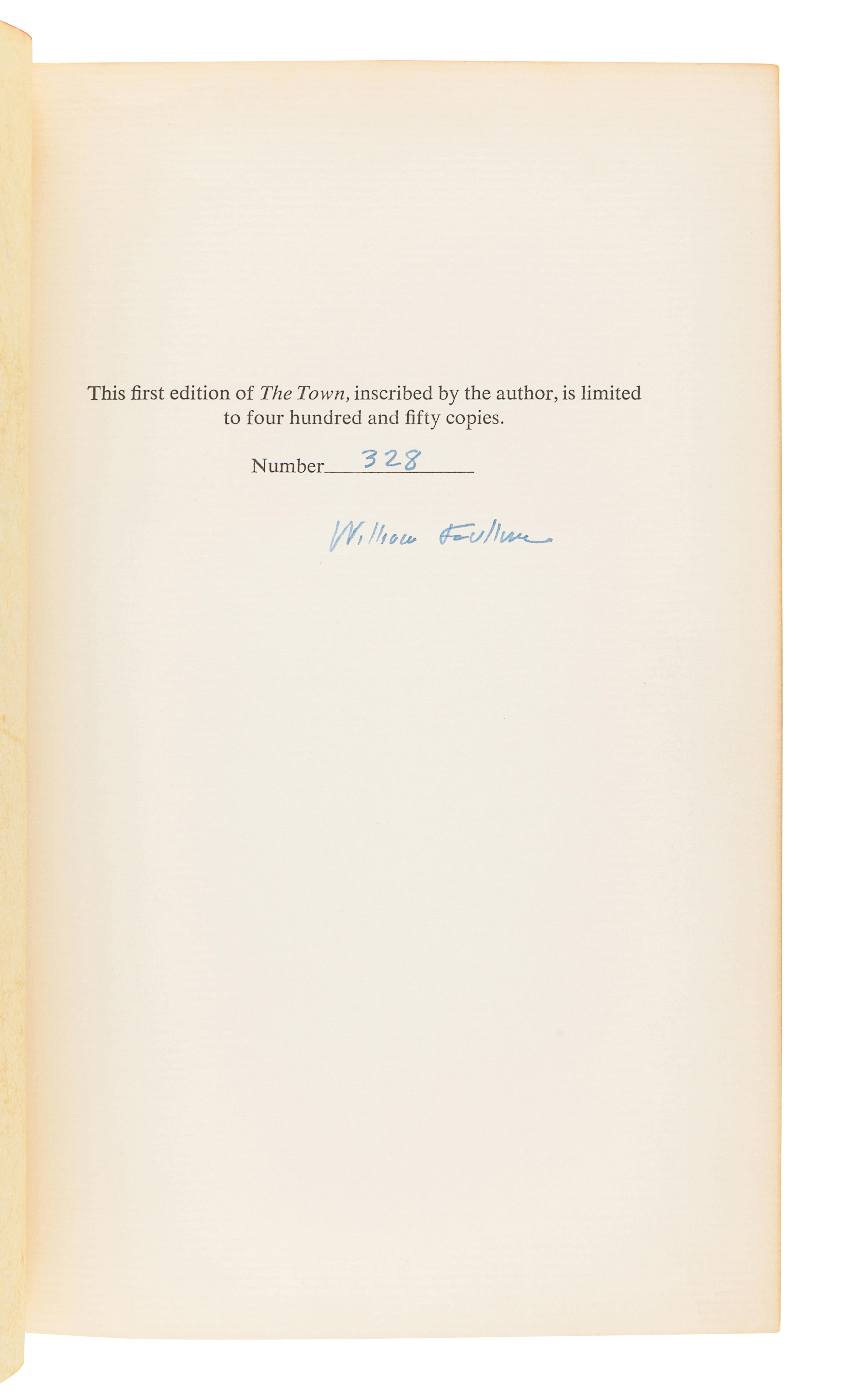 FAULKNER, William (1897-1962). The Town. New York: Random House, 1957.
