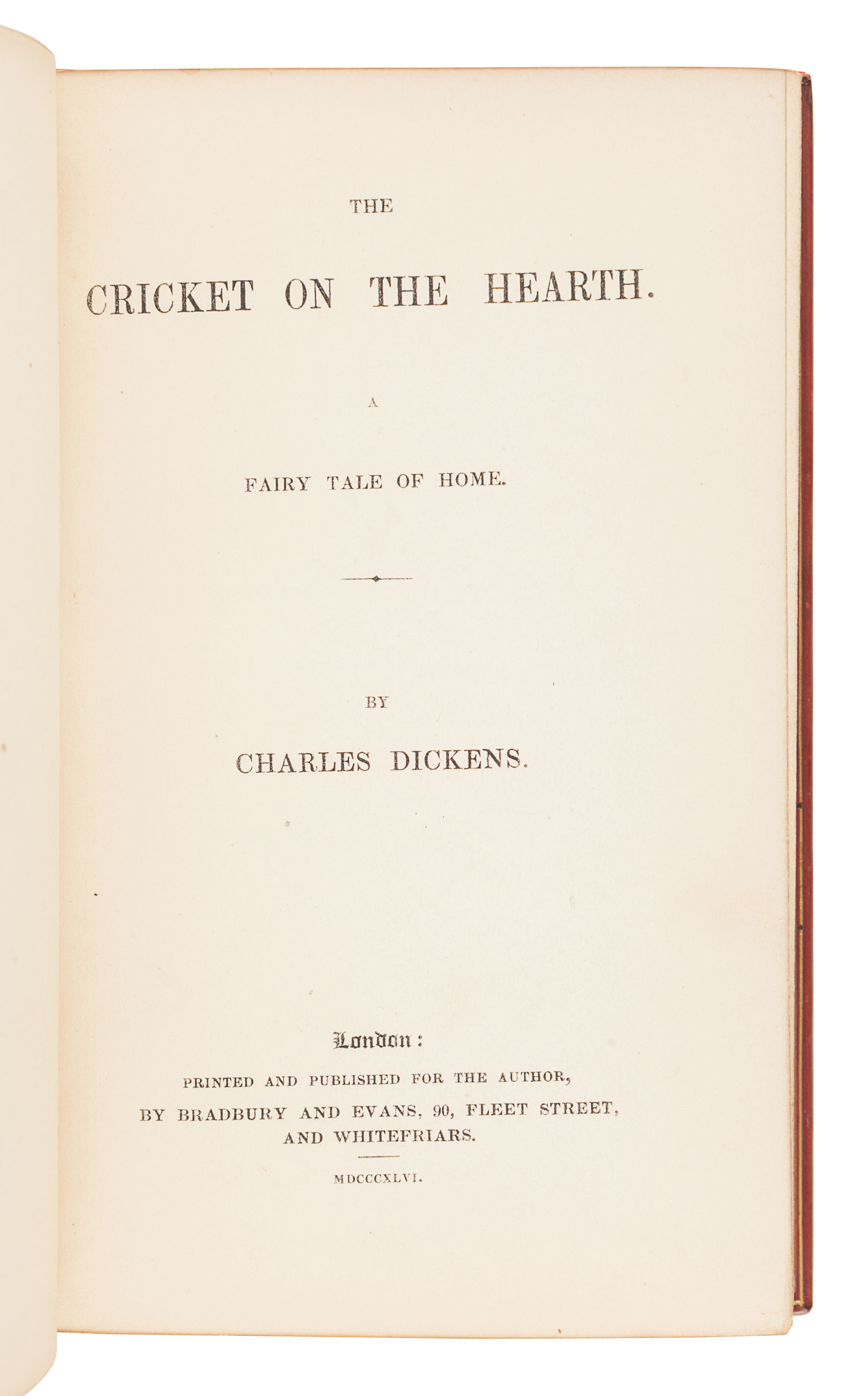 DICKENS, Charles (1812-1870). The Cricket on the Hearth. A Fairy Tale of Home. London: Bradbury & Ev - Image 3 of 3