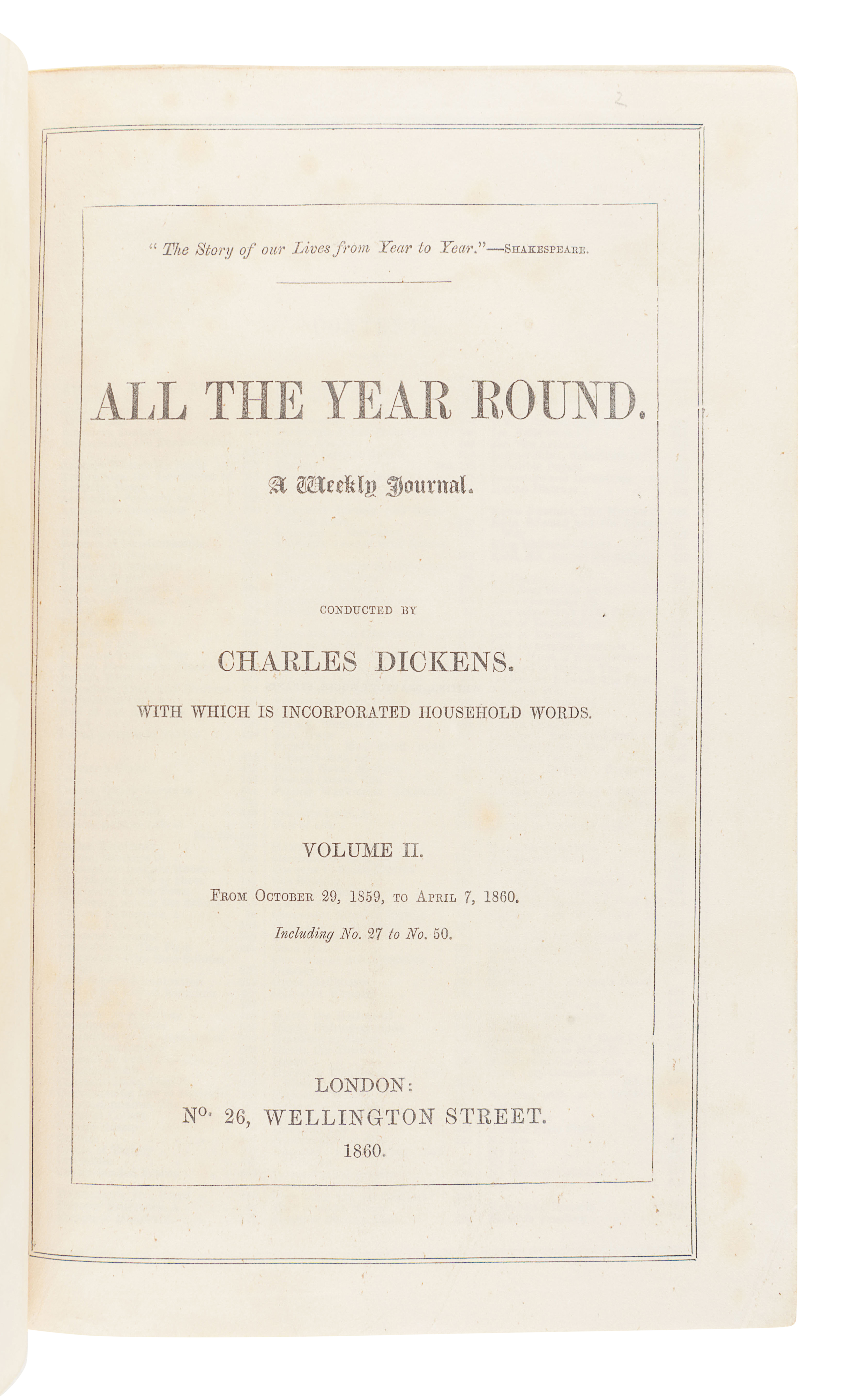DICKENS, Charles (1812-1870), editor. All the Year Round. A Weekly Journal. London: C. Whiting for N - Image 2 of 3