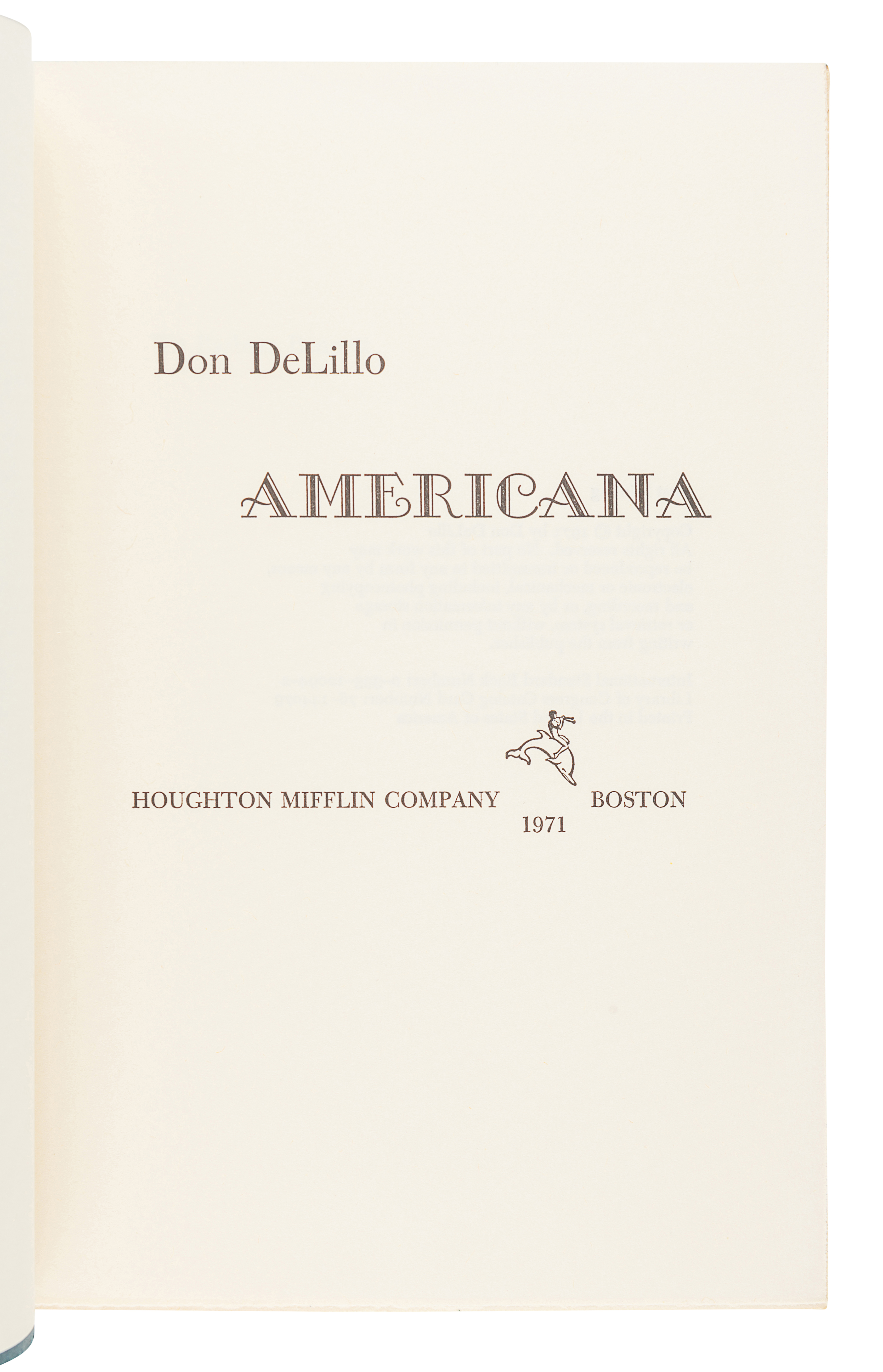 DELILLO, Don (b. 1936). Americana. Boston: Houghton Mifflin Company, 1971. - Image 3 of 3