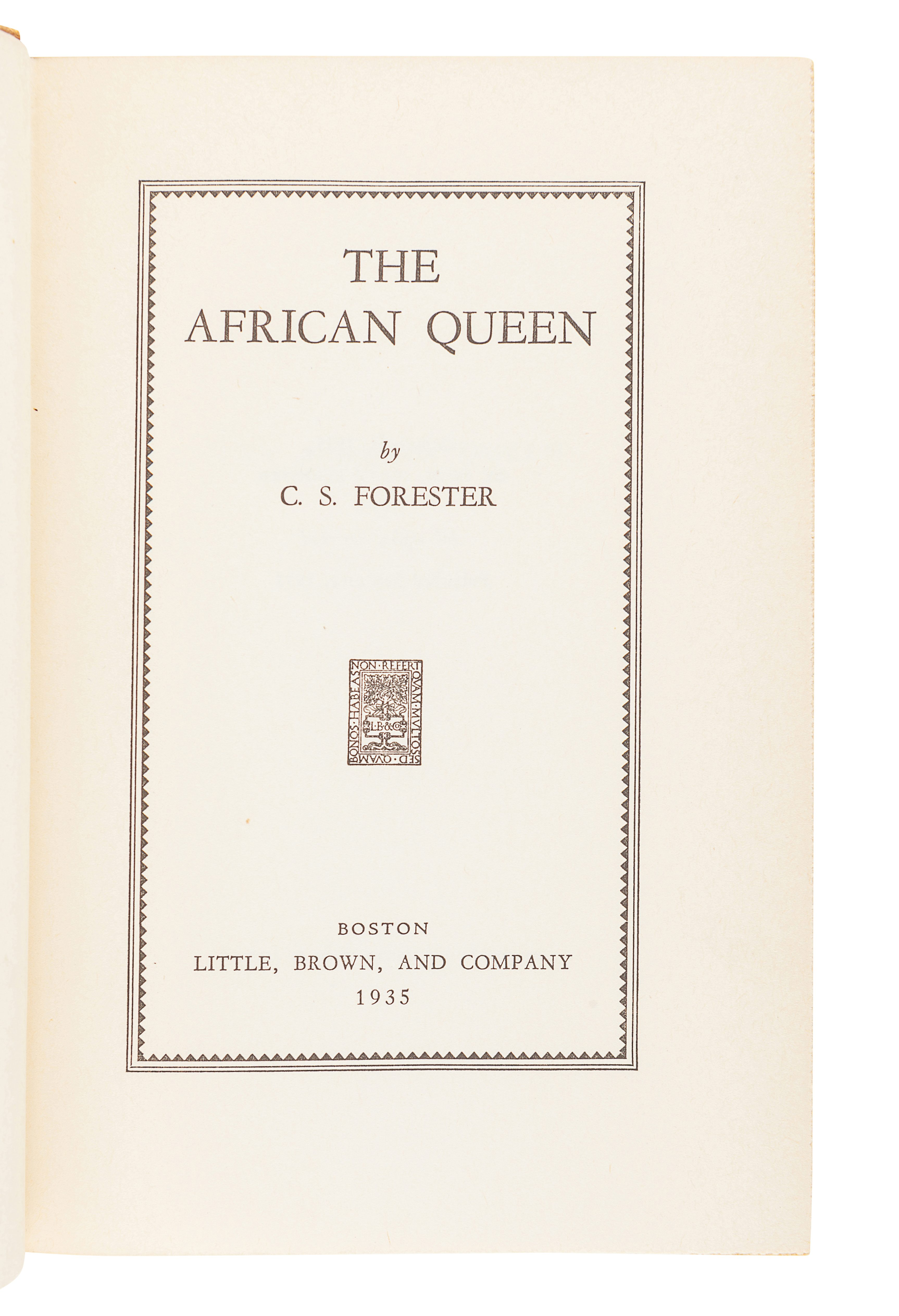 FORESTER, Cecil Scott (1899-1966). The African Queen. Boston: Little, Brown, and Company, 1935. - Image 2 of 3