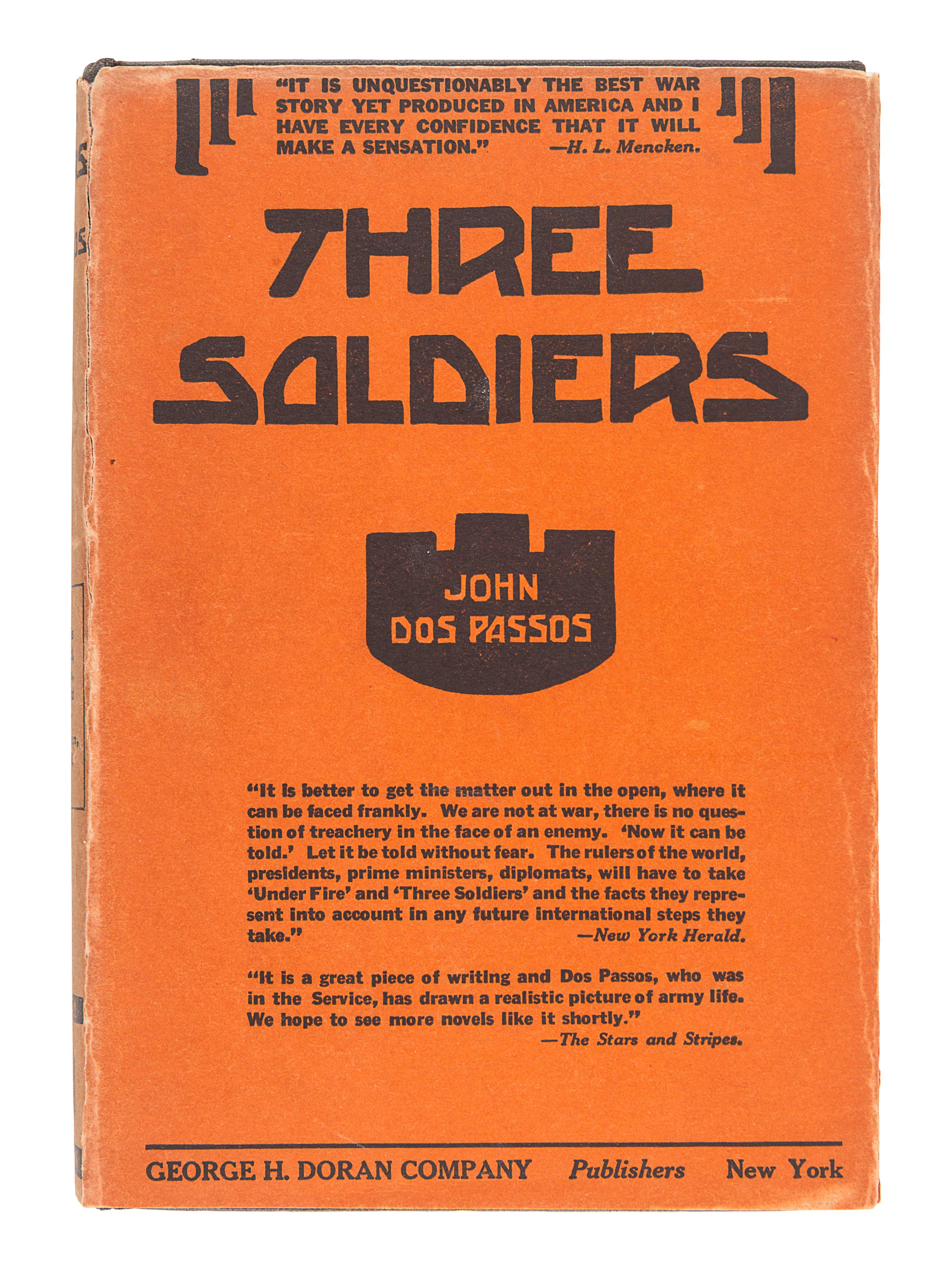 DOS PASSOS, John (1896-1970). Three Soldiers. New York: George H. Doran, 1921.