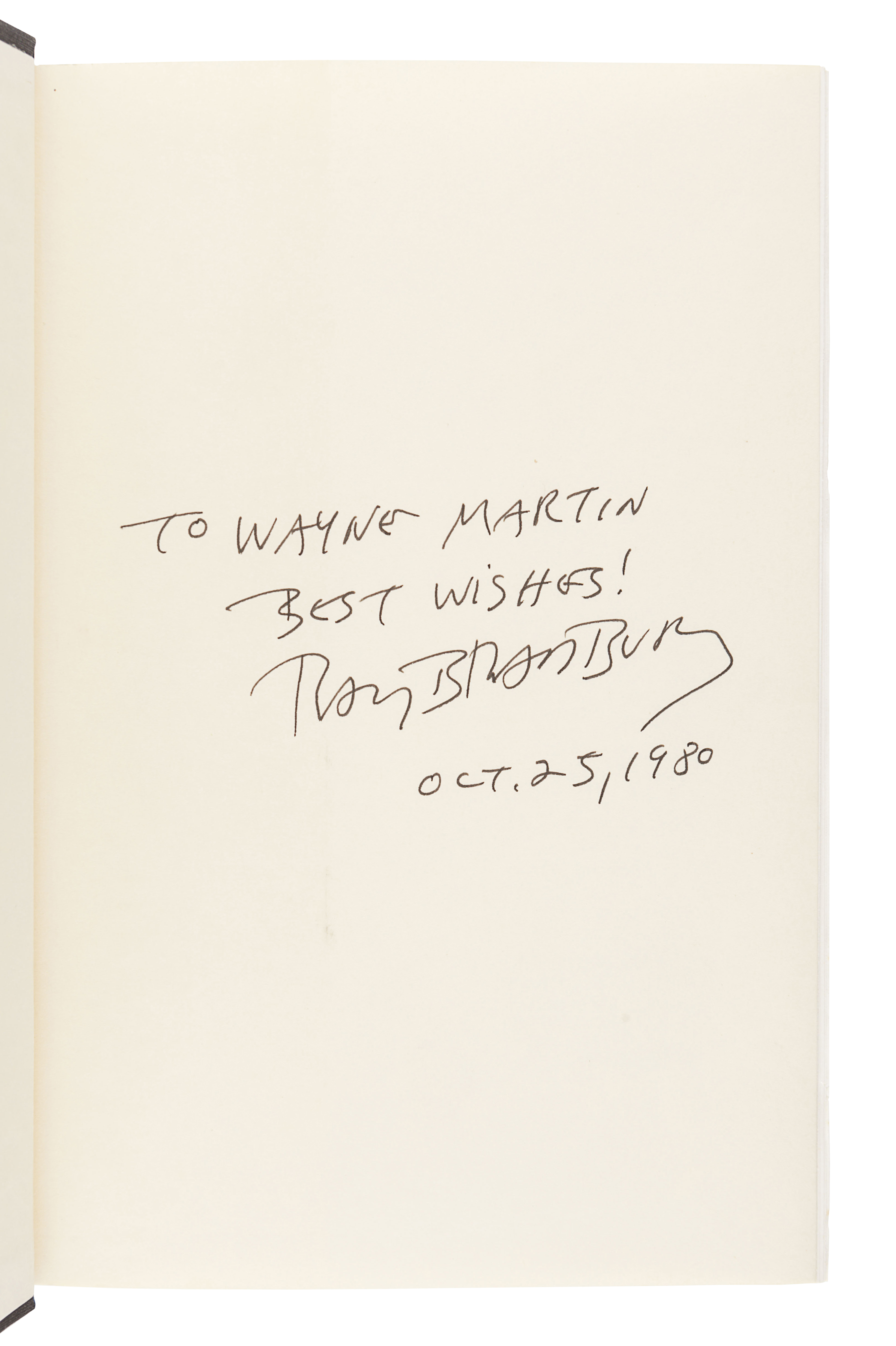 [BRADBURY, Ray (1920-2012)]. A group of 5 works SIGNED OR INSCRIBED by Bradbury, comprising: - Image 7 of 11