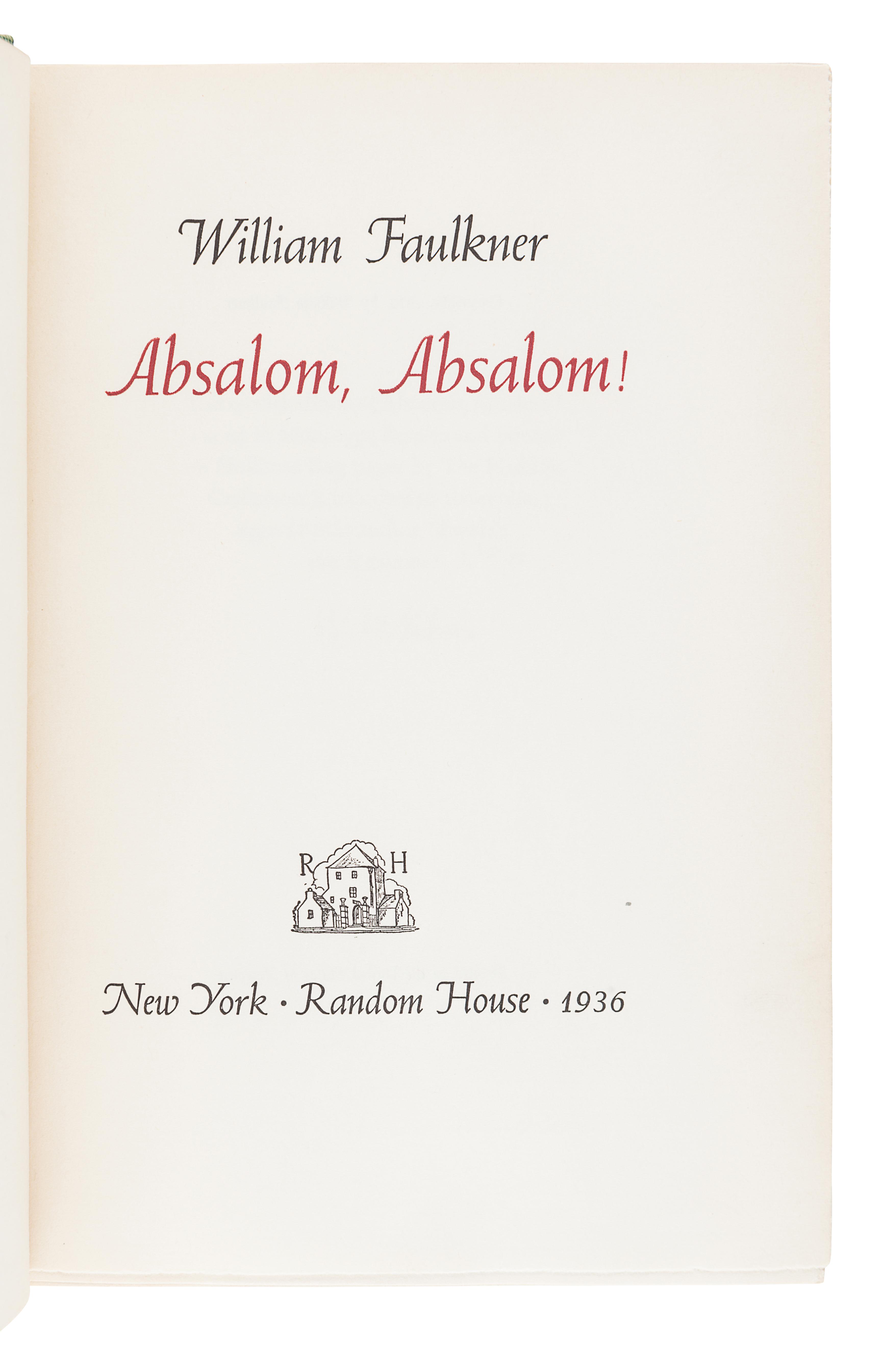 FAULKNER, William (1897-1962). Absalom, Absalom! New York: Random House, 1936. - Image 3 of 3