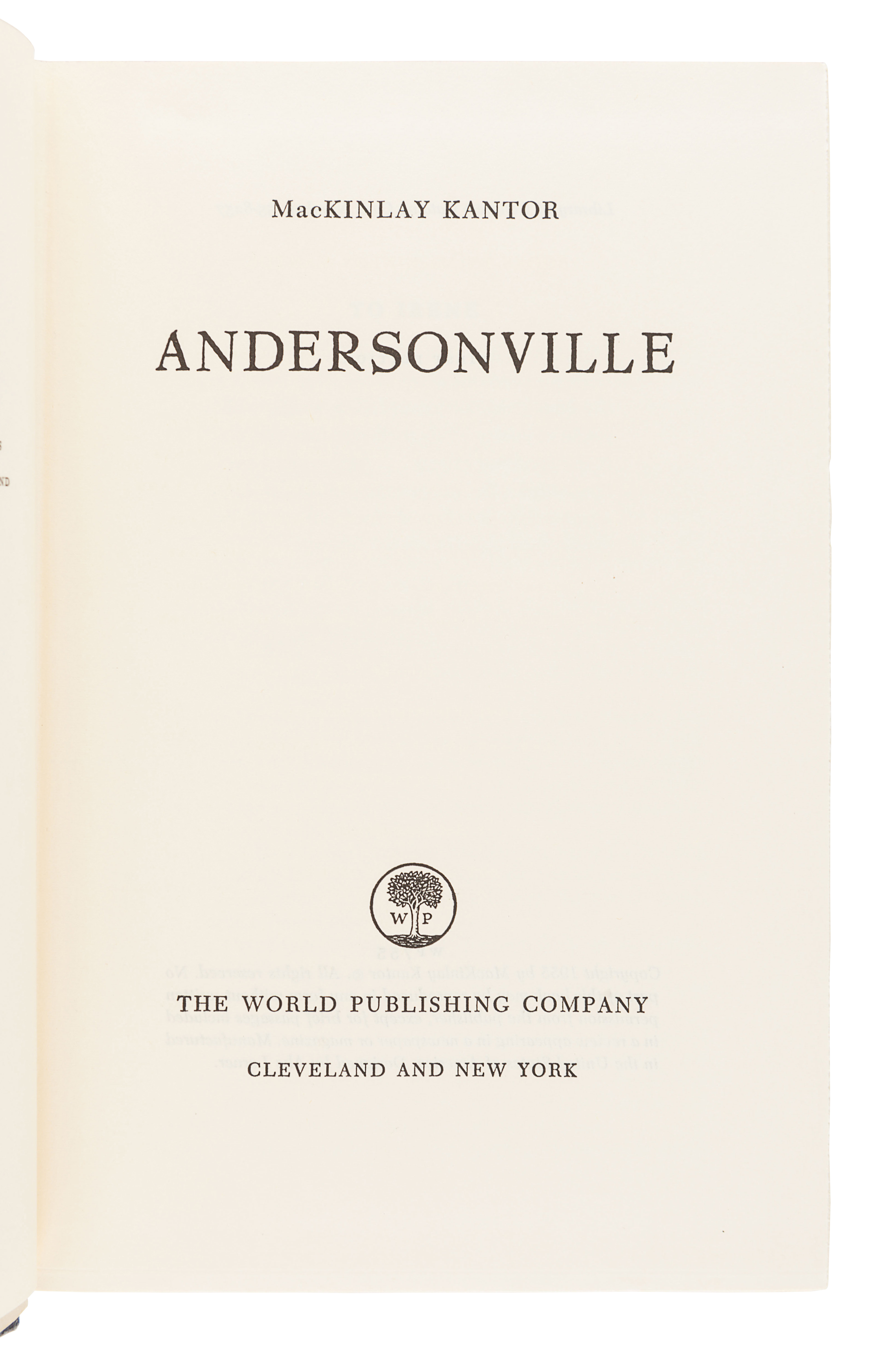 [CIVIL WAR]. KANTOR, MacKinlay (1904-1977). Andersonville. Cleveland and New York: The World Publish - Image 2 of 2