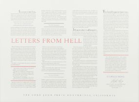KING, Stephen (b.1947). Letters from Hell. Northridge, CA: The Lord John Press, 1988.