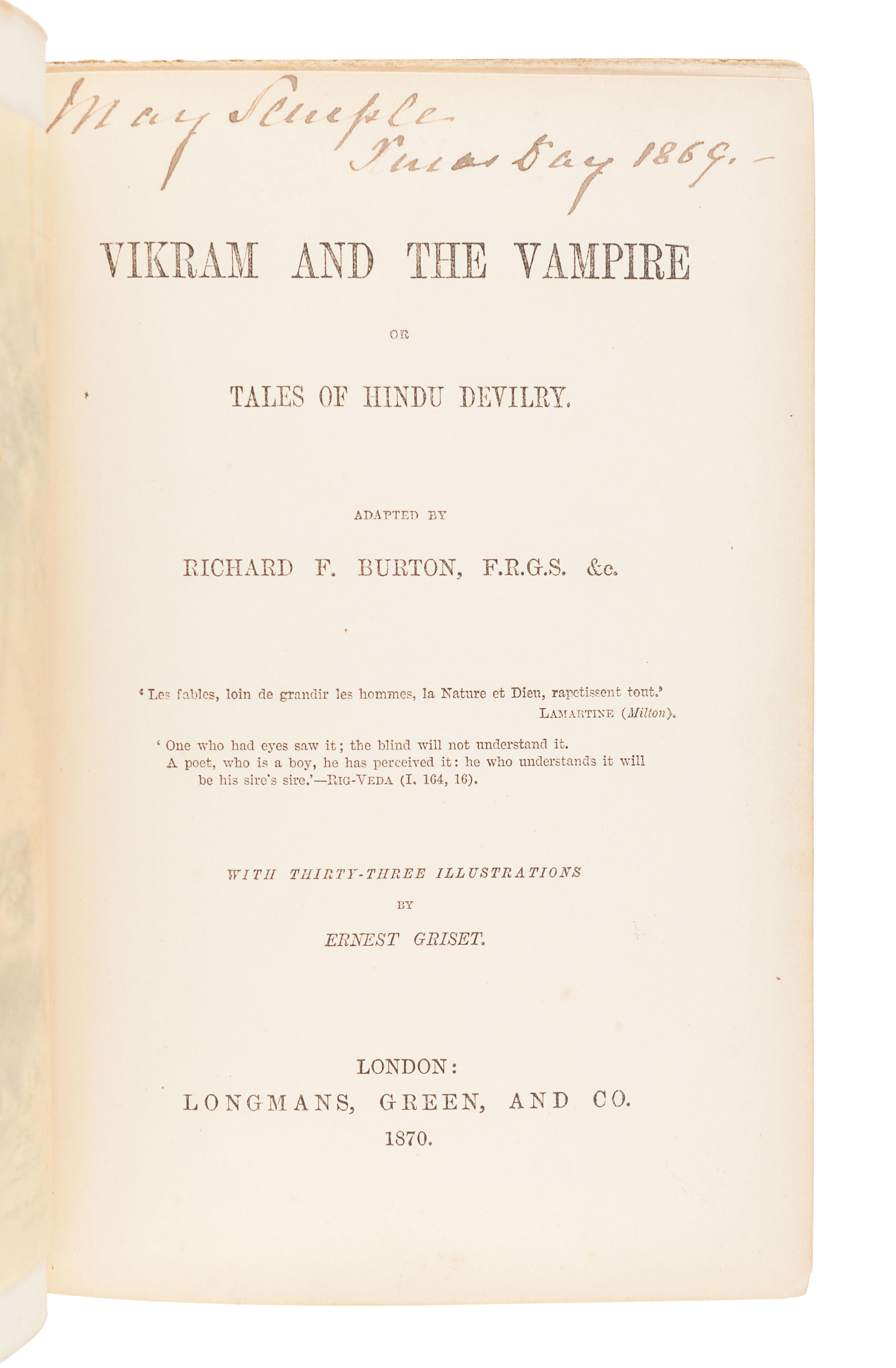 BURTON, Richard Francis, Sir (1821-1890). Vikram and the Vampire or Tales of Hindu Devilry. London: - Image 3 of 3