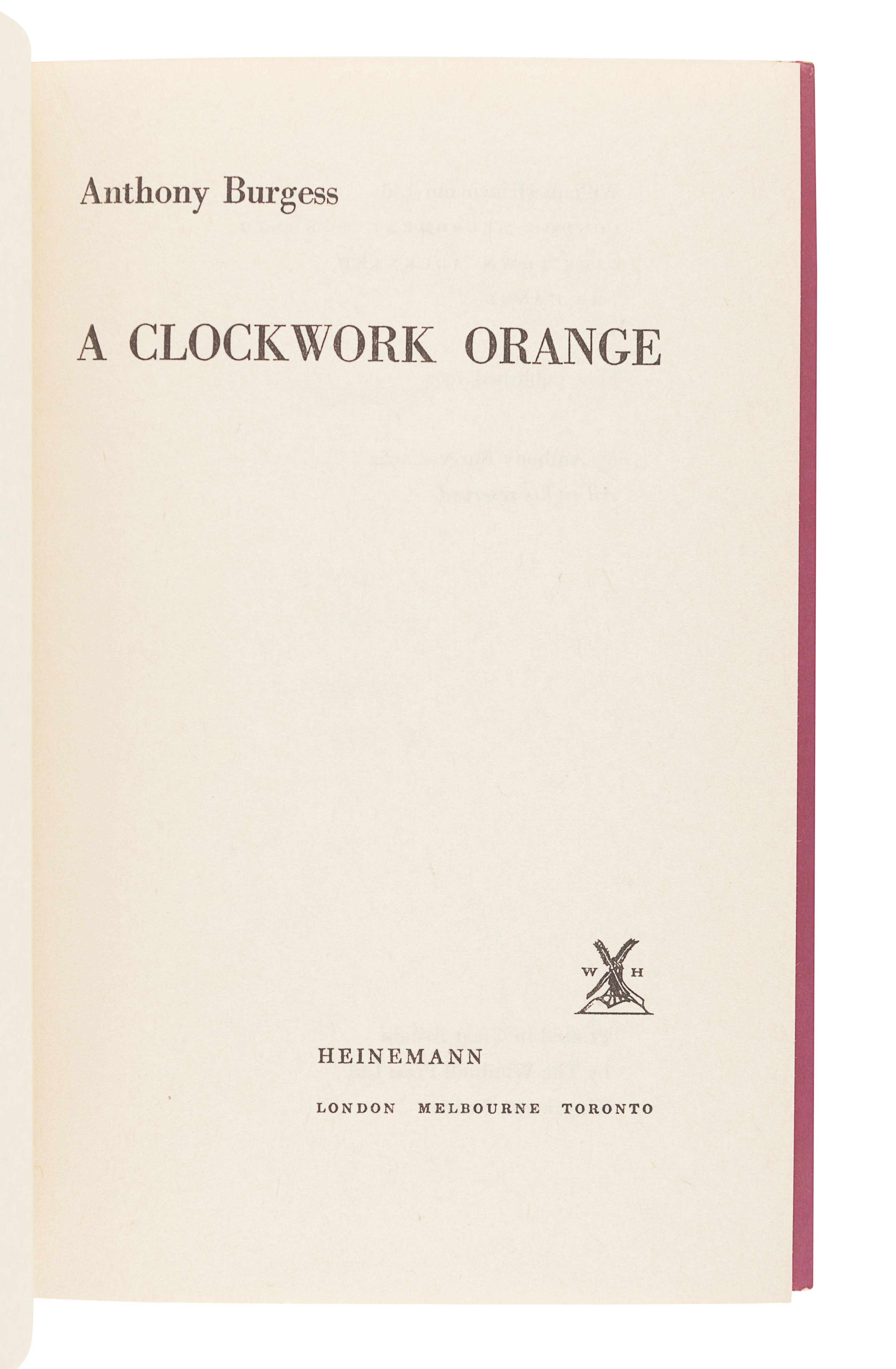 BURGESS, Anthony (1917-1993). A Clockwork Orange. London: Heinemann, 1962. - Image 3 of 3