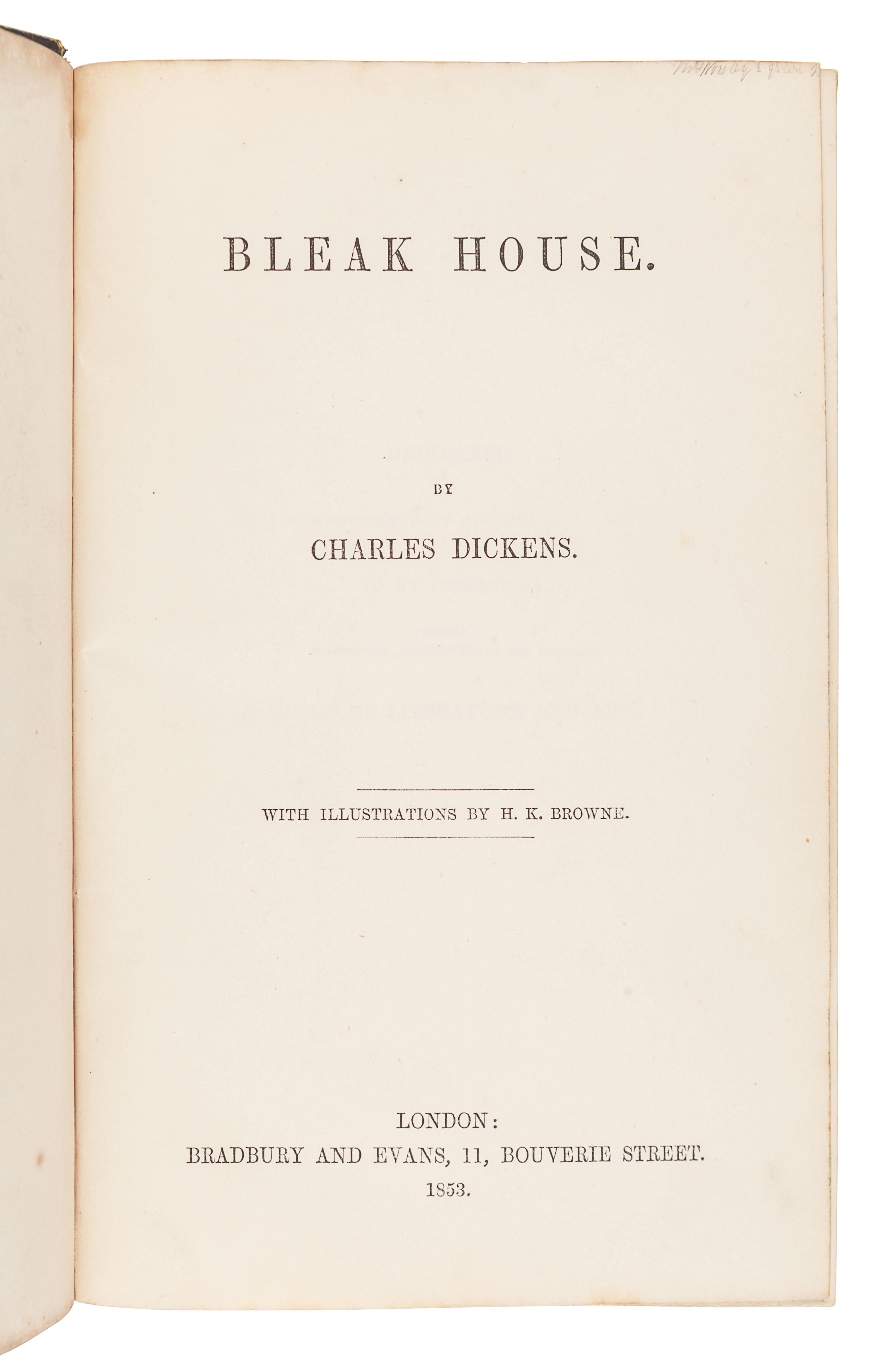 DICKENS, Charles (1812-1870). Bleak House. London: Bradbury & Evans, 1853.