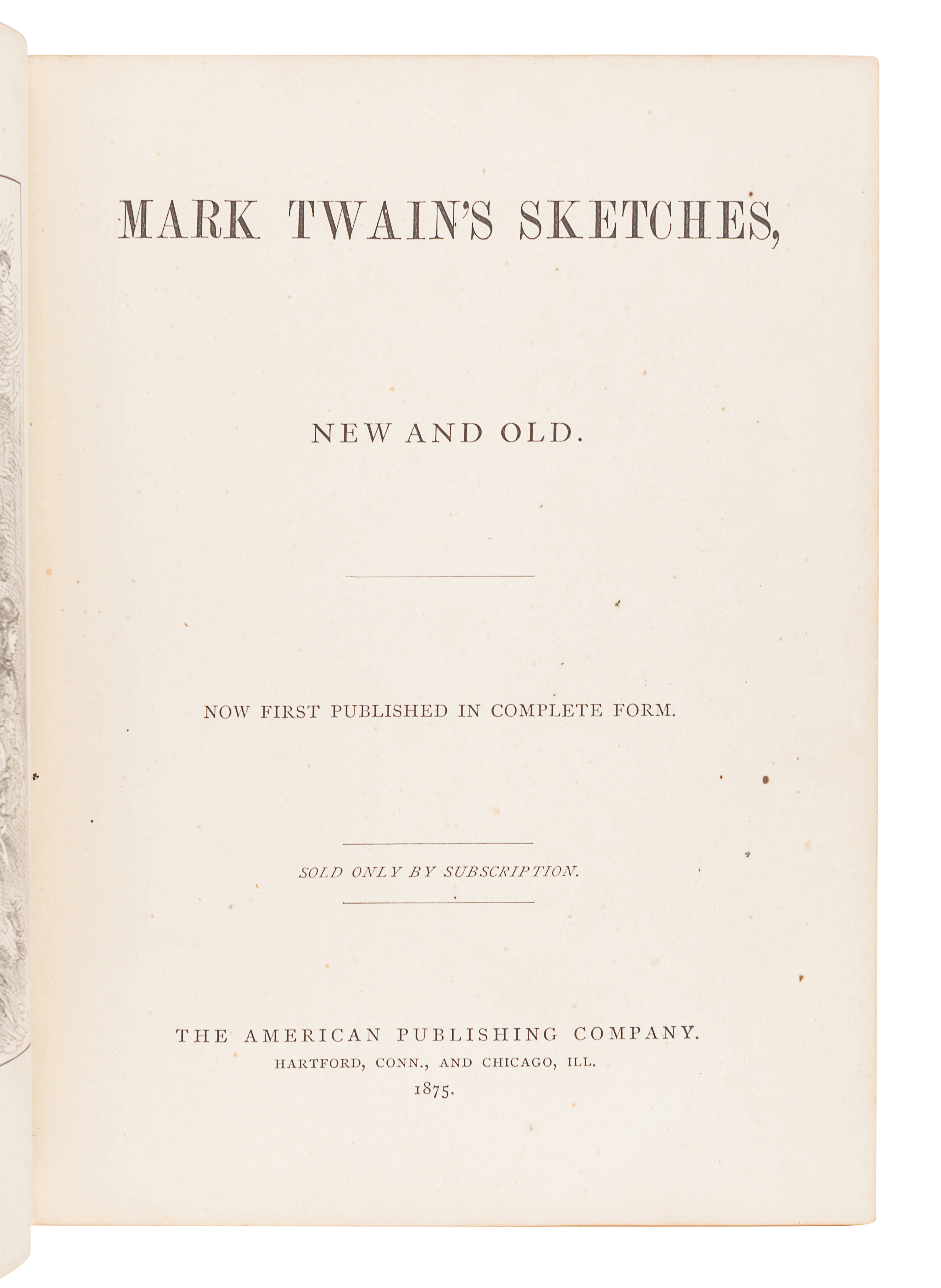 """CLEMENS, Samuel (""""Mark Twain"""") (1835-1910). Mark Twain's Sketches, New and Old. Hartford and Chicago - Image 3 of 4"""