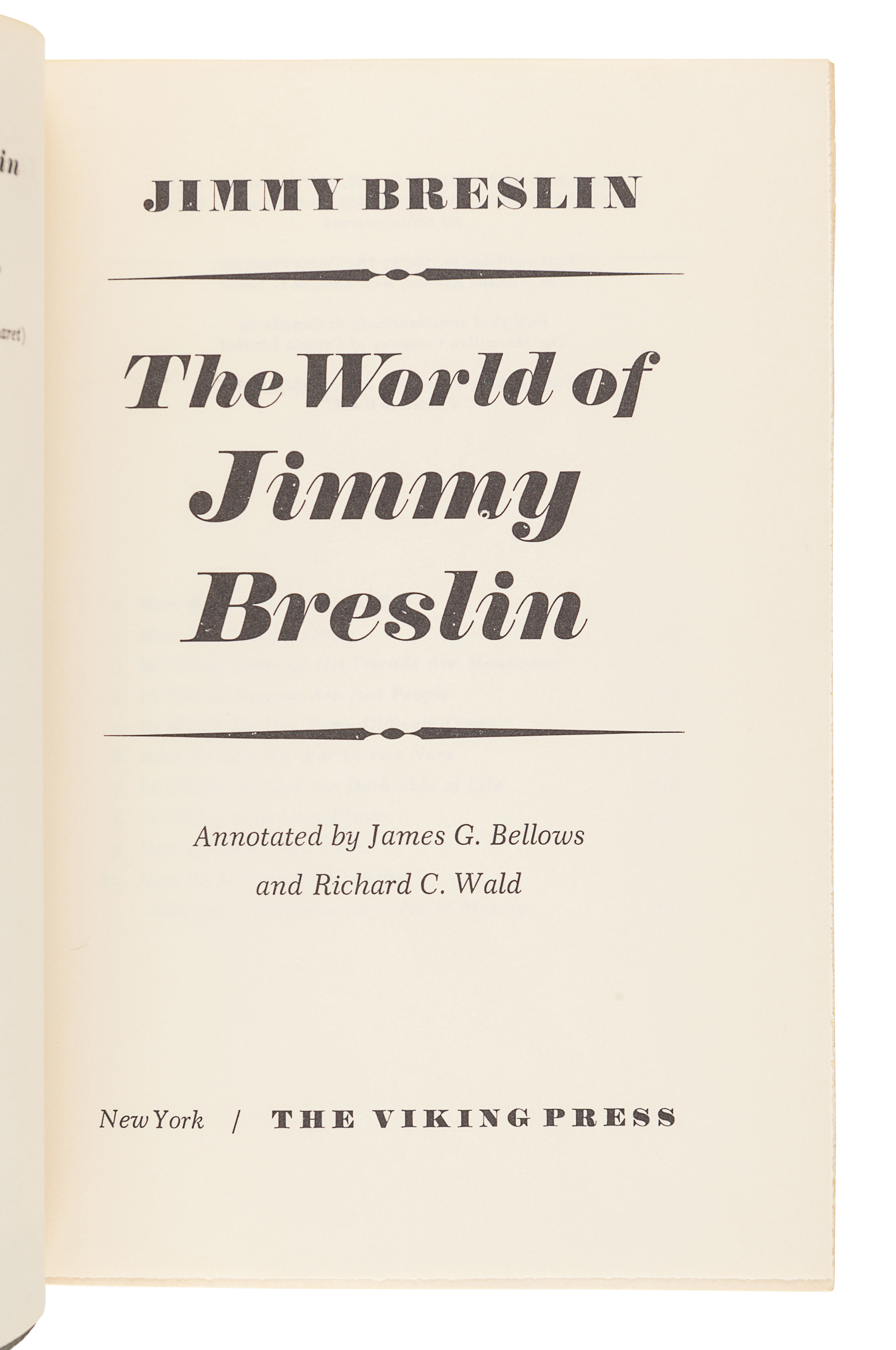 [BRESLIN, Jimmy (1928-2017)]. A group of 4 FIRST EDITIONS by Breslin, comprising: - Image 2 of 9