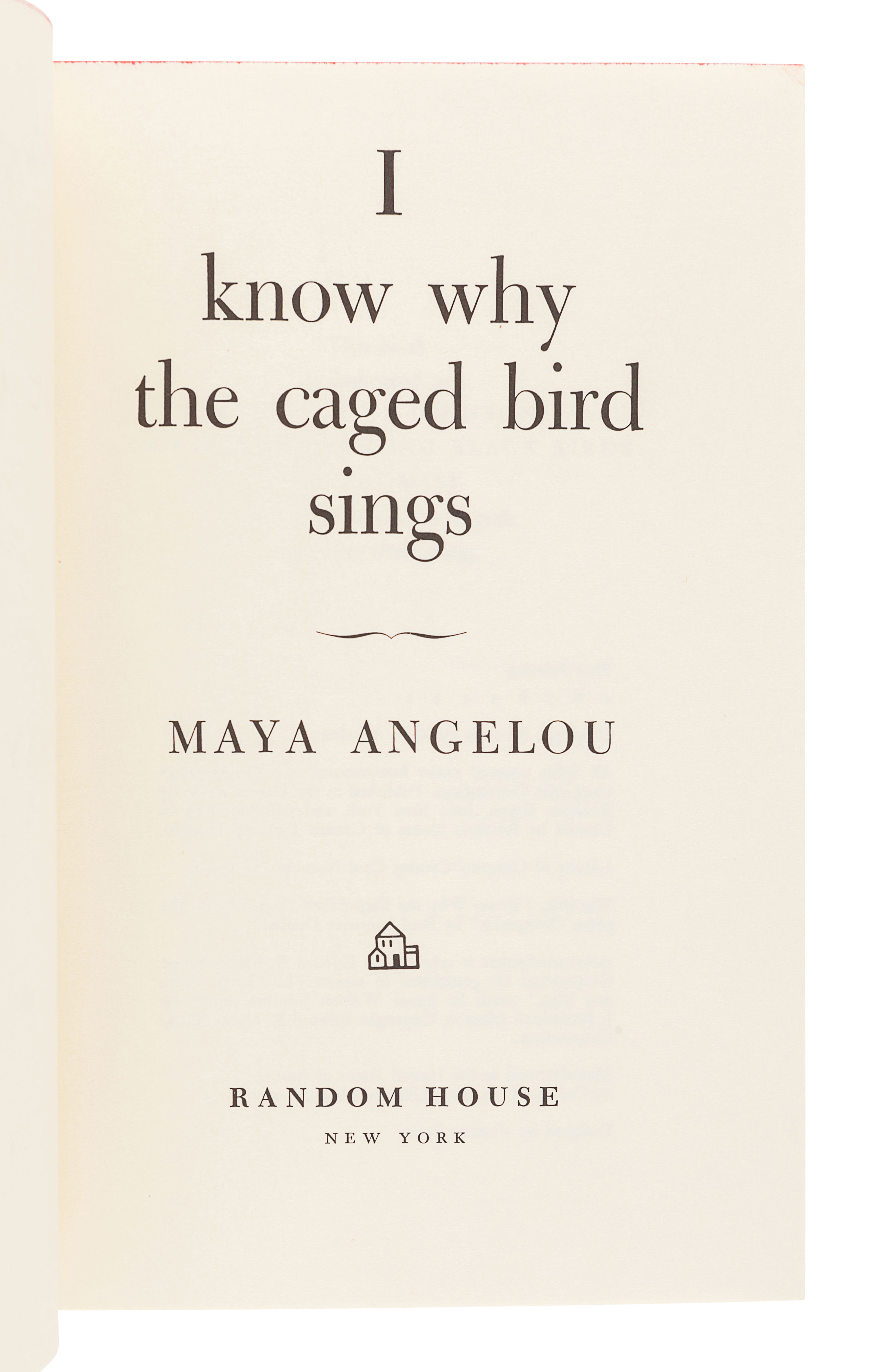 ANGELOU, Maya (1928-2014). I Know Why the Caged Bird Sings. New York: Random House, 1969. - Image 3 of 4