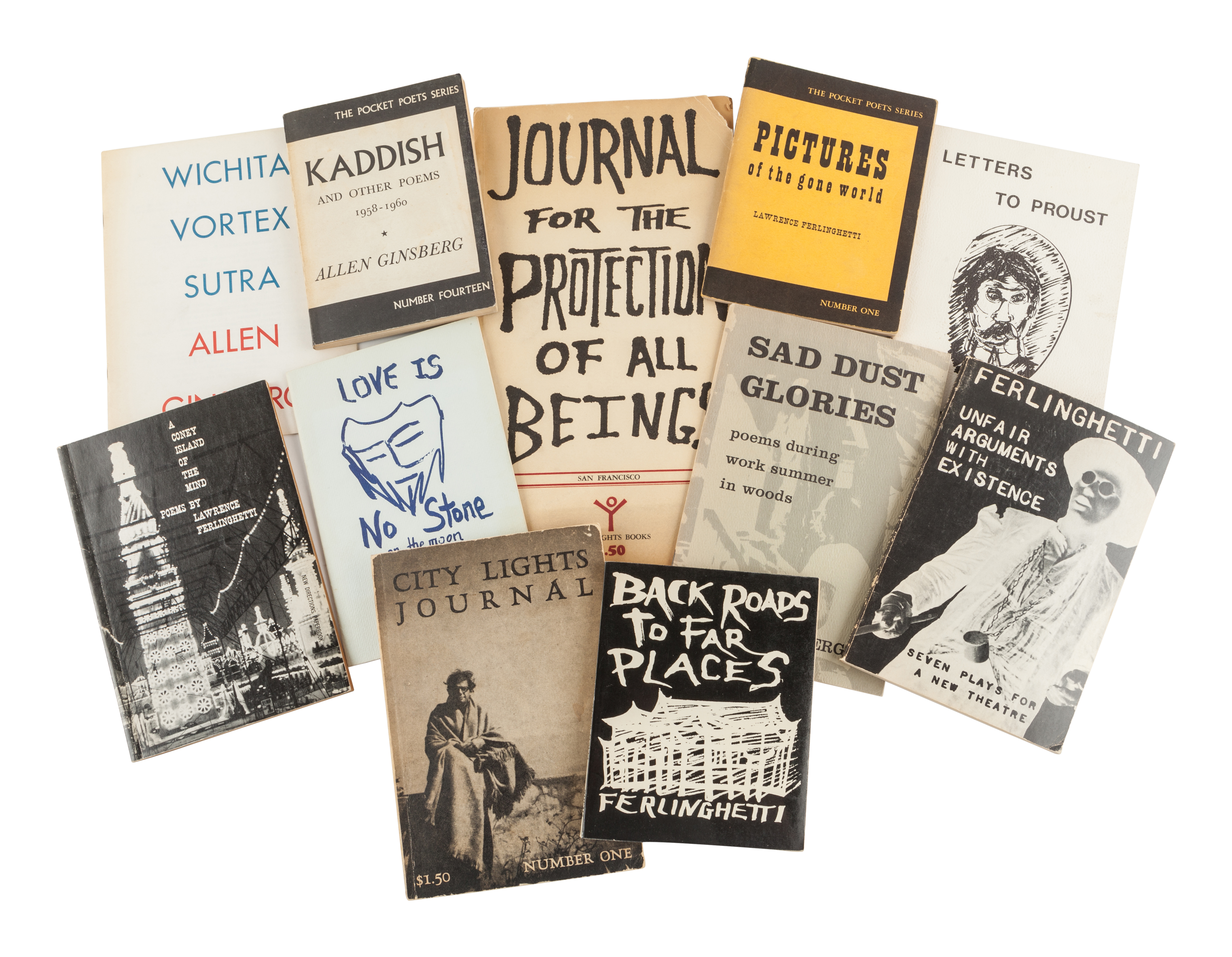 [THE BEATS. A group of works by Lawrence Ferlinghetti, many SIGNED OR INSCRIBED, including:
