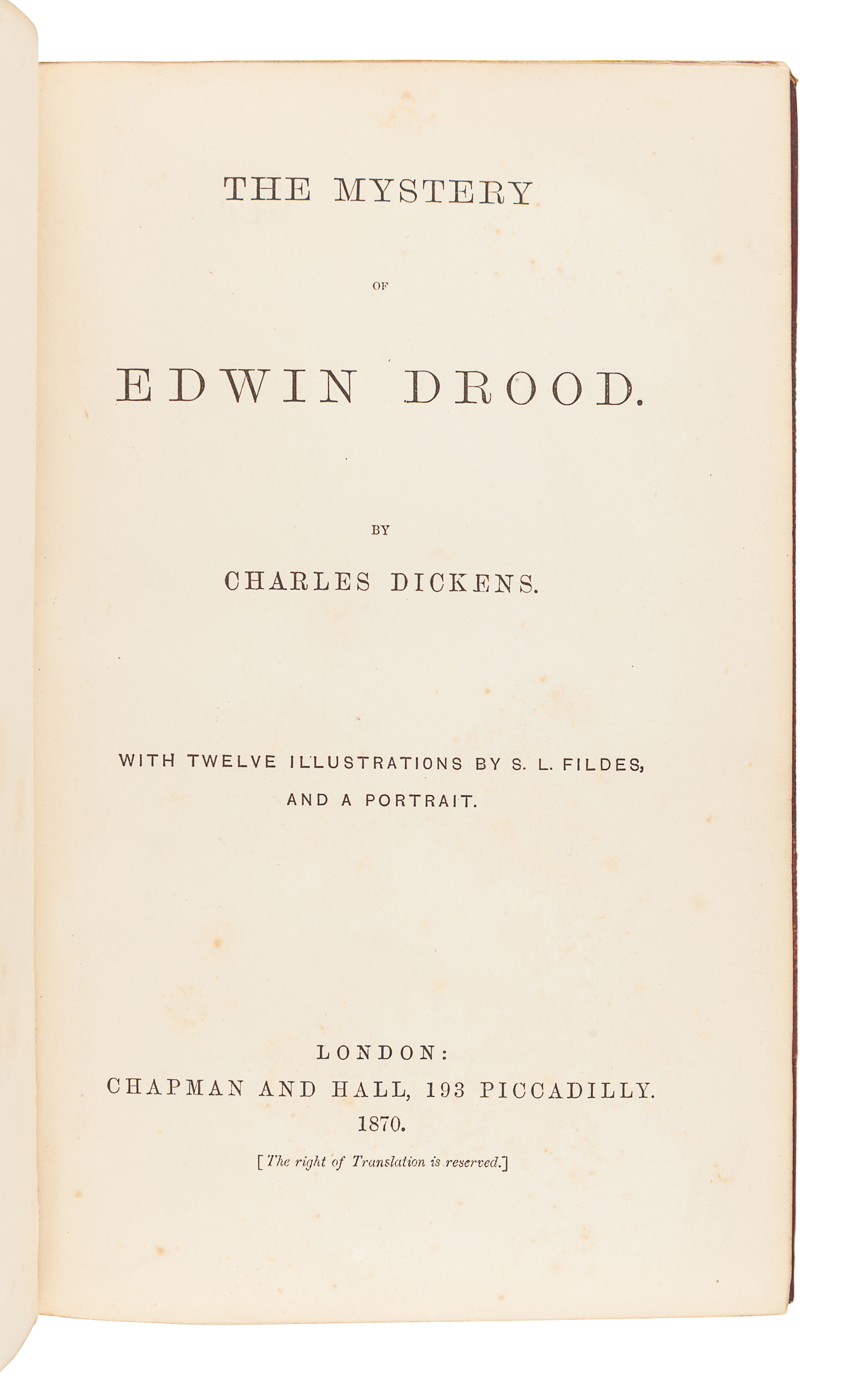 DICKENS, Charles (1812-1870). The Mystery of Edwin Drood. London: Chapman & Hall, 1870.
