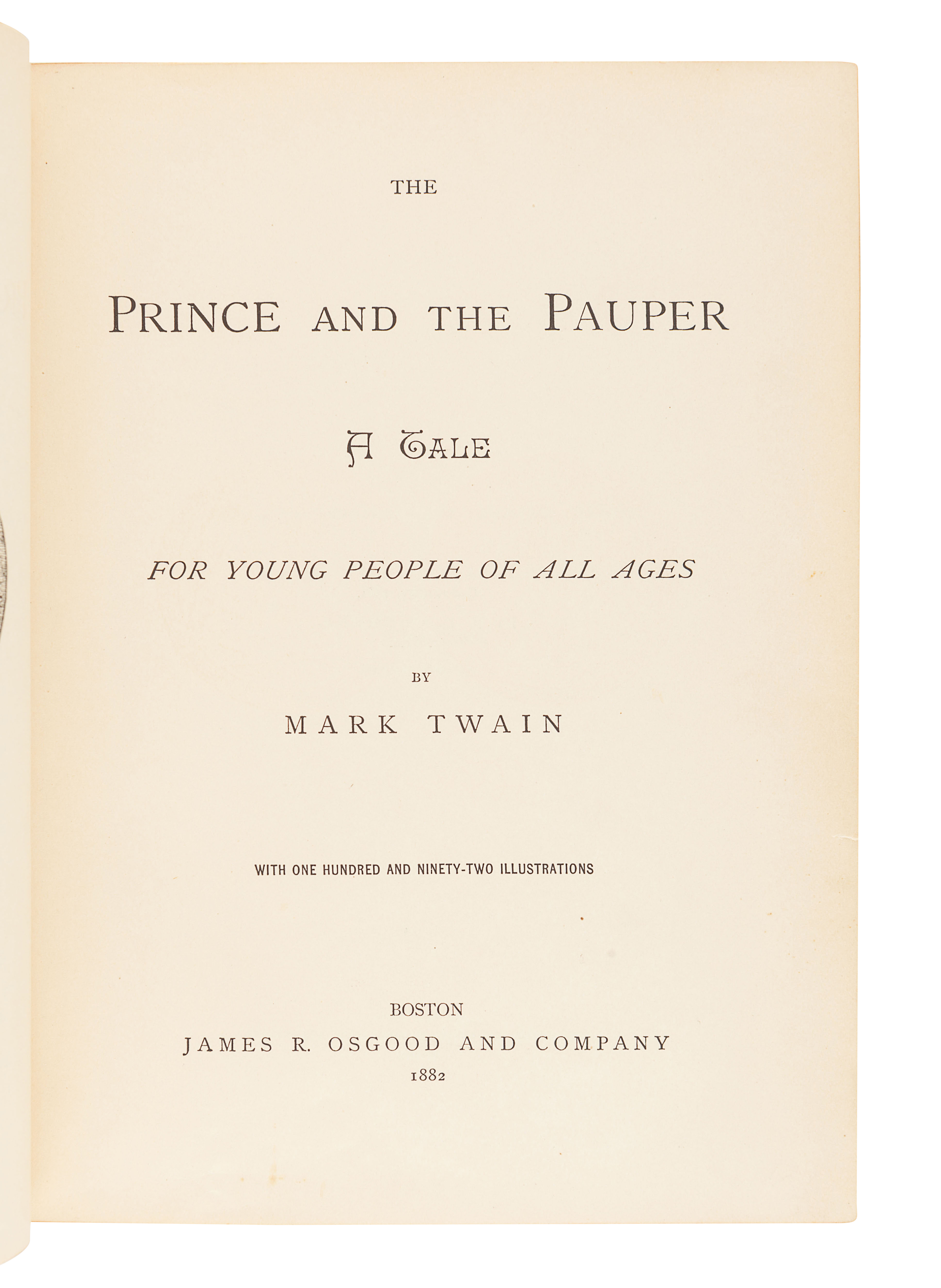"""CLEMENS, Samuel (""""Mark Twain"""") (1835-1910). The Prince and the Pauper. Boston: James R. Osgood and C - Image 2 of 2"""