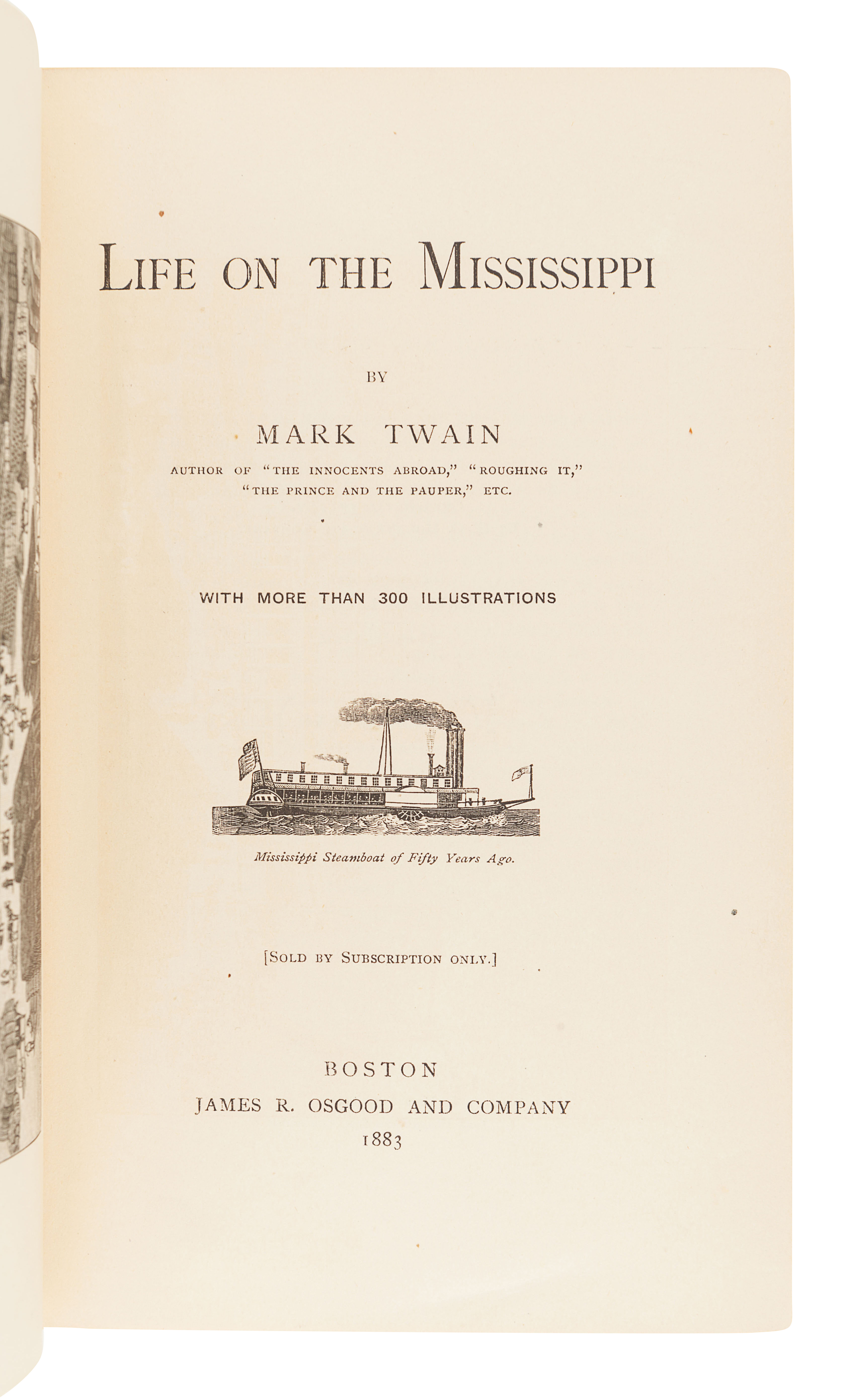 "CLEMENS, Samuel (""Mark Twain"") (1835-1910). Life on the Mississippi. Boston: James R. Osgood and Com - Image 3 of 3"