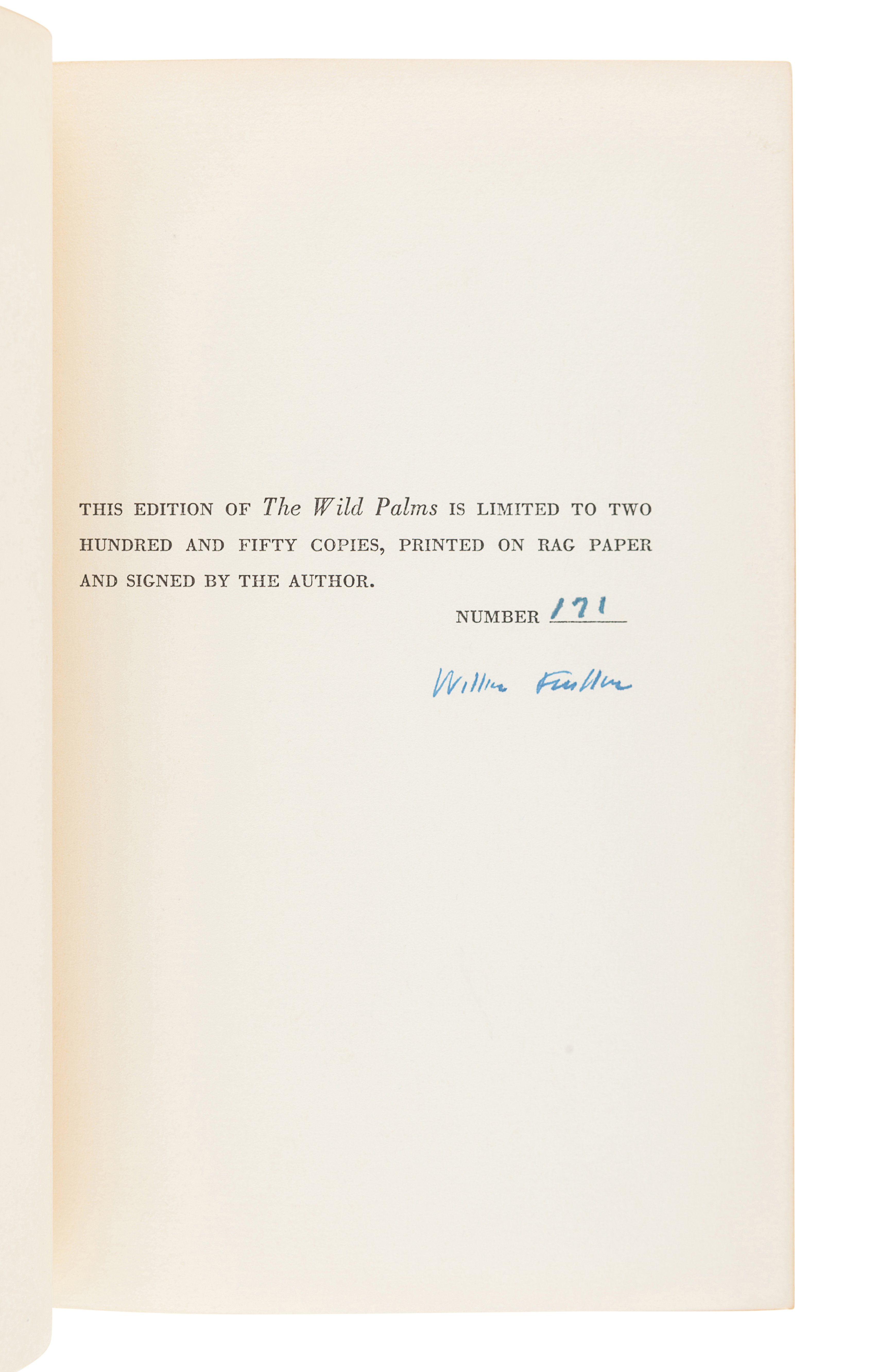 FAULKNER, William (1897-1962). The Wild Palms. New York: Random House, 1939.
