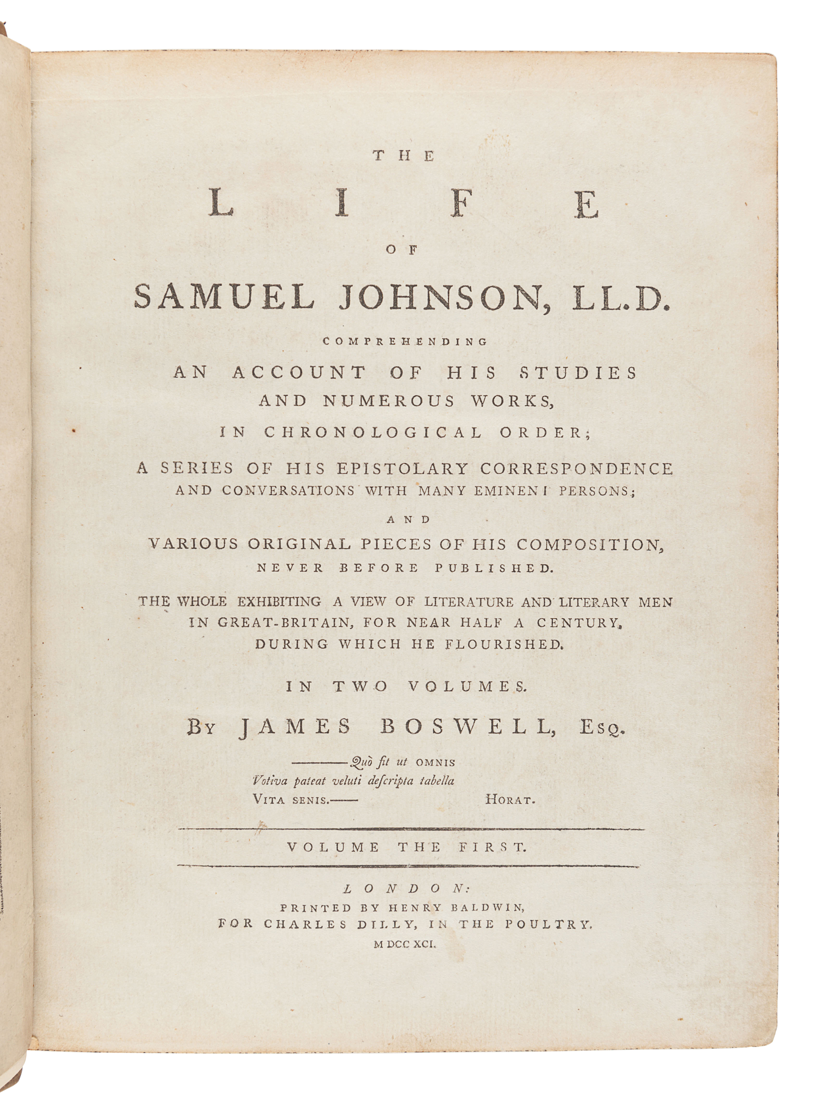 BOSWELL, James (1740-1795). The Life of Samuel Johnson. London: Henry Baldwin for Charles Dilly, 179