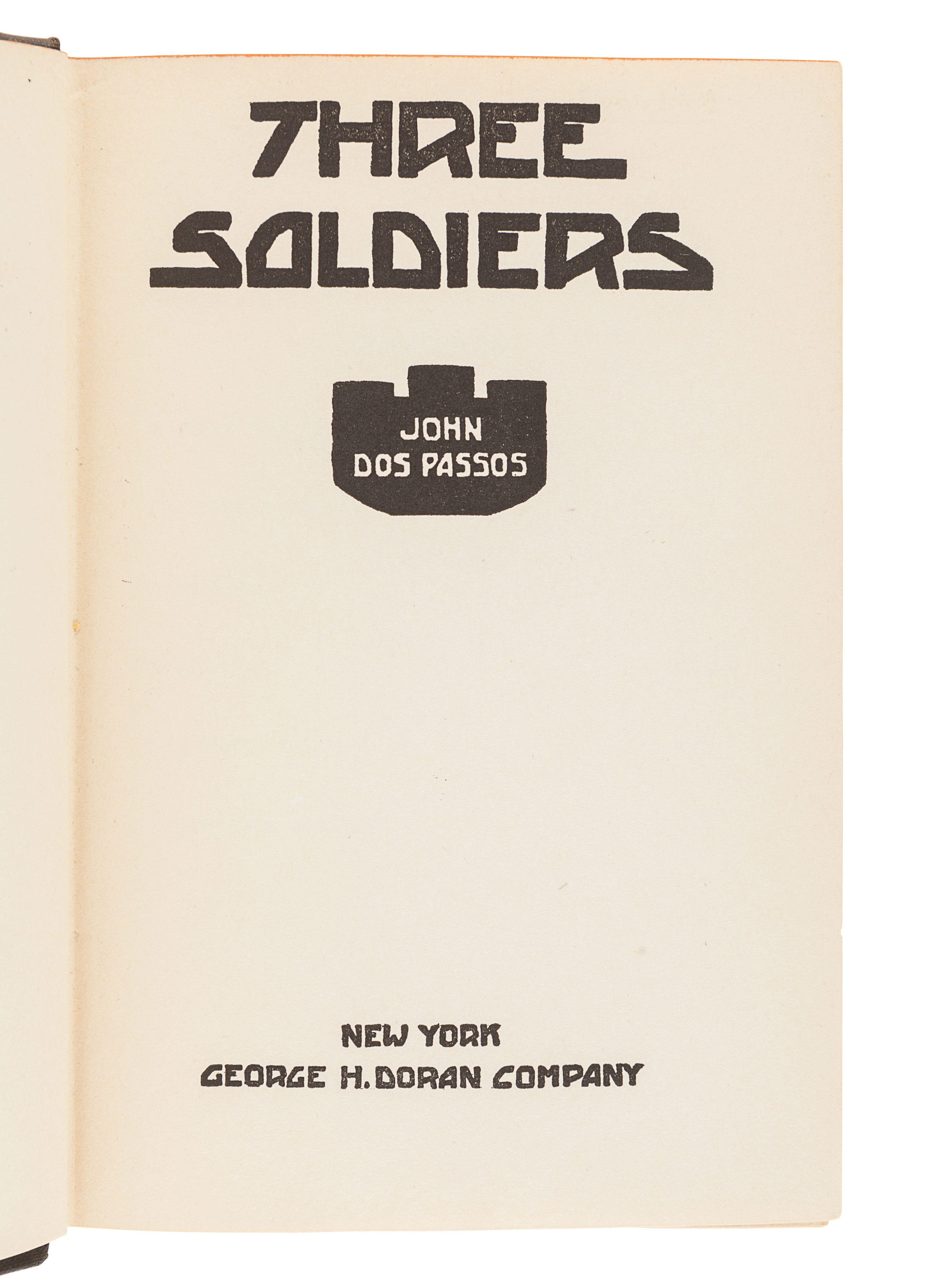 DOS PASSOS, John (1896-1970). Three Soldiers. New York: George H. Doran, 1921. - Image 2 of 2