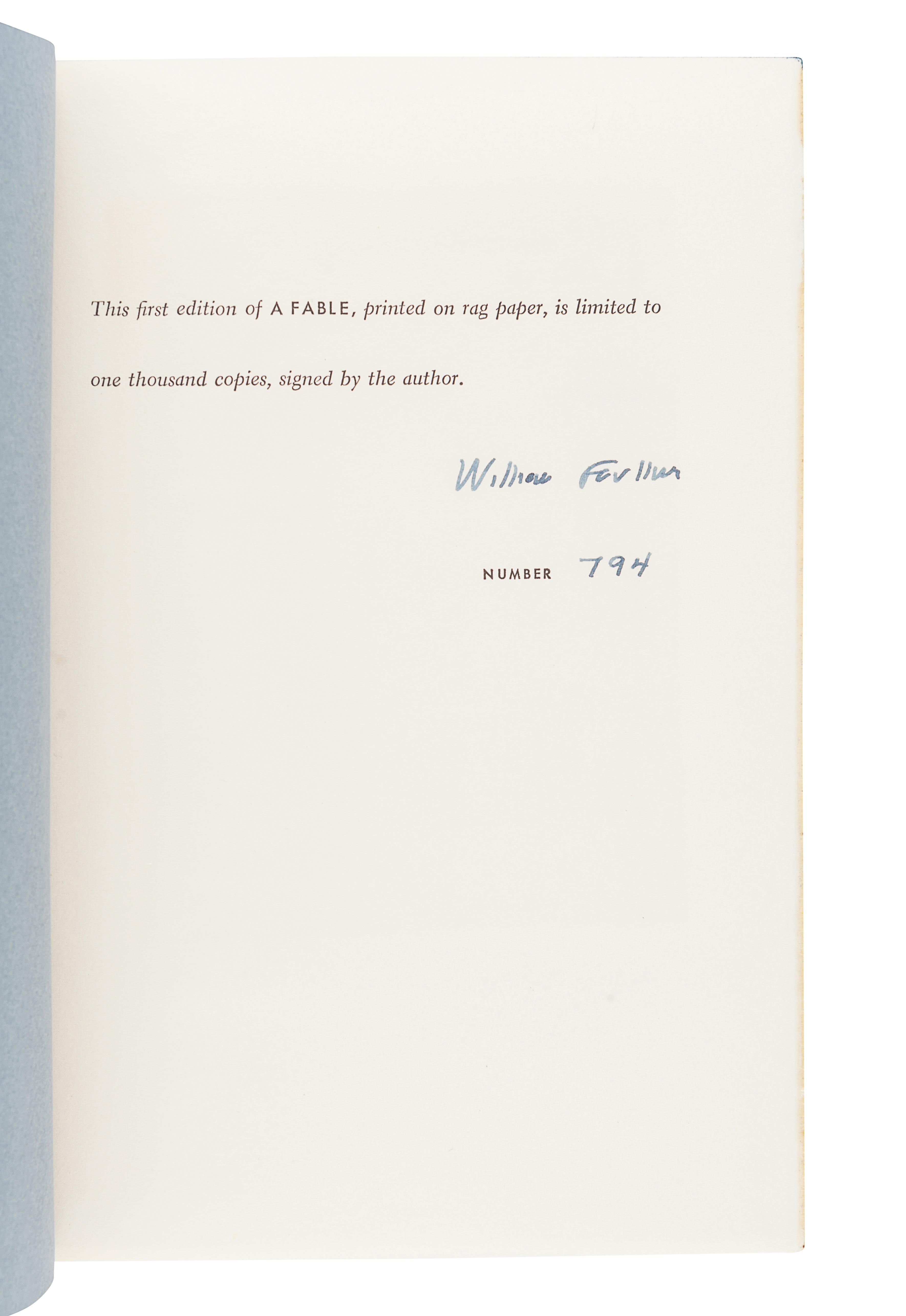 FAULKNER, William (1897-1962). A Fable. New York: Random House, 1954.