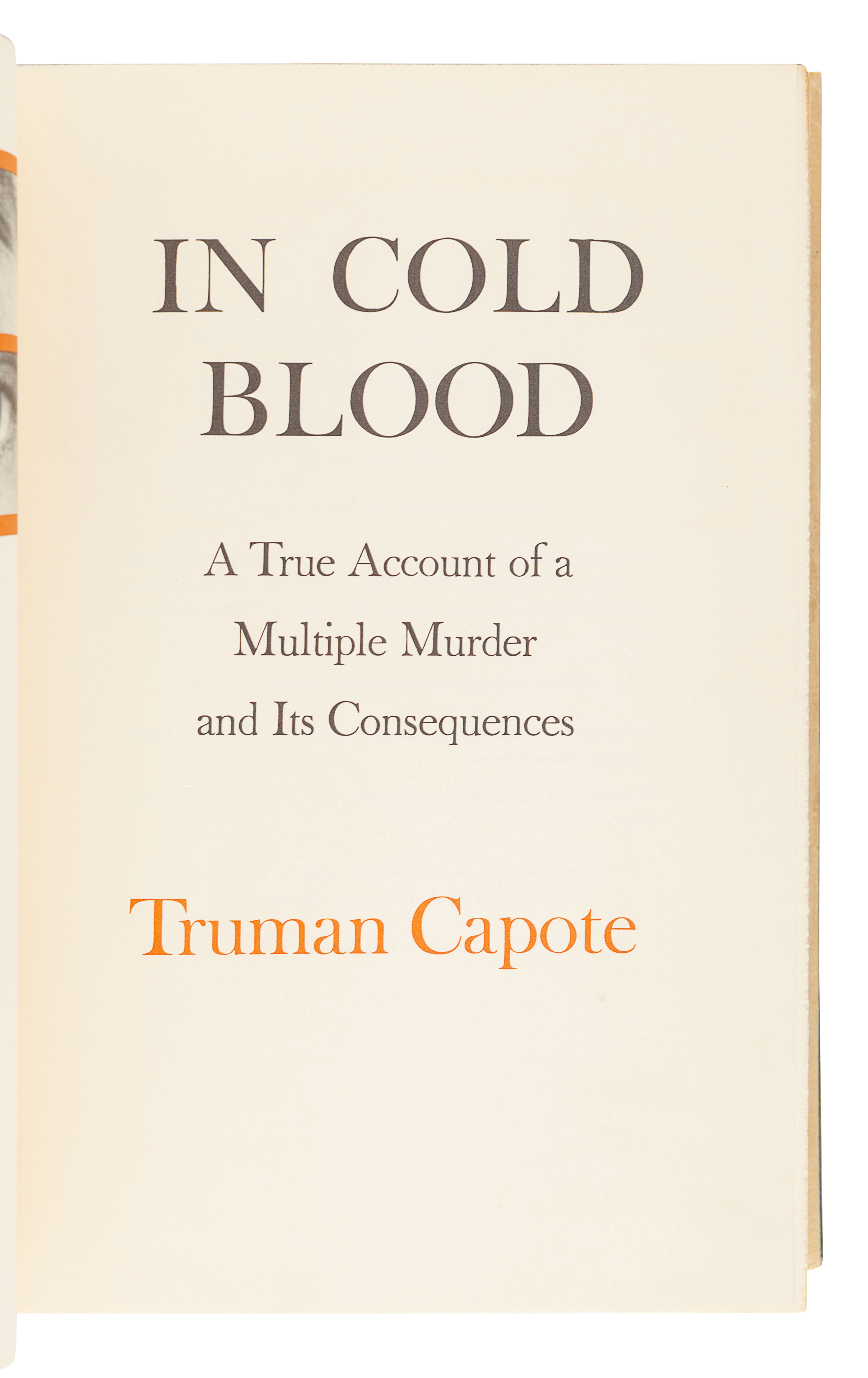 CAPOTE, Truman (1924-1984). In Cold Blood. New York: Random House, 1965. - Image 3 of 3