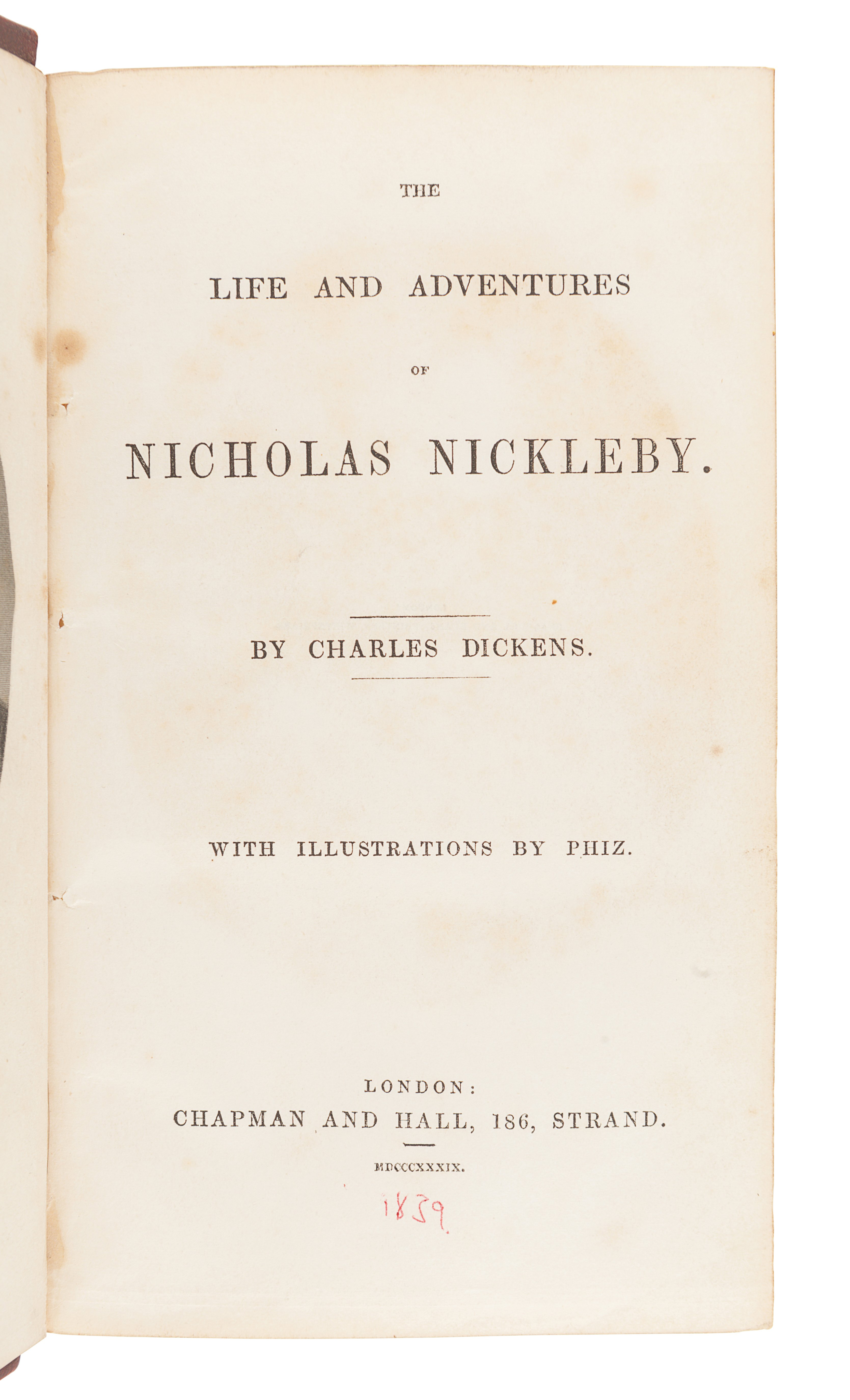 DICKENS, Charles (1812-1870). The Life and Adventures of Nicholas Nickleby. London: Chapman & Hall,