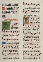 [MANUSCRIPT LEAF -- ANTIPHONARY]. One leaf on vellum, in Latin. Italy, ca. 1480-1525.