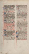[MANUSCRIPT LEAF -- MISSAL]. One leaf on vellum, in Latin. England?, ca 1375.