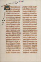 [MANUSCRIPT LEAF -- BIBLE]. One leaf on vellum, in Latin. England?, ca. 1250.