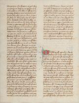 [MANUSCRIPT LEAF -- BIBLE]. One leaf on vellum, in Latin. France, ca 14th century.