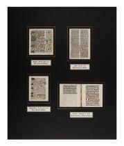 [MANUSCRIPT LEAVES -- BIBLES]. A group of 4 manuscript leaves on vellum, matted together, comprising