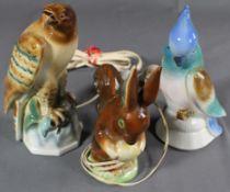 3 alte, figürliche Rauchverzehrer, Porzellan, verschiedene Erhaltungen, Funktion nicht geprüft
