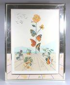 """1 große Lithographie von Dalí in passend zum Blatt gestalteten Rahmen """"Flordalí II, """", 1981, ca."""