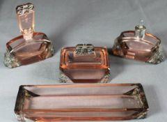 1 Toilettenset Glas, Art Déco bestehend aus 1 Flacon mit Glasstopfen (besch.), 1 Flacon mit