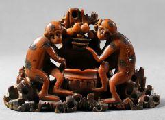 1 Speckstein-Figur, geschnitzt und poliert, Boden gemarkt, H ca. 10cm, L ca. 17cm