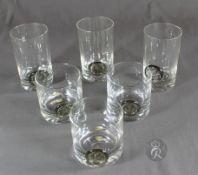 """1 kleines Konvolut von 6 Gläsern mit aufgelegten Siegeln """"Rosenthal"""", Entwurf: Bjorn Wiinblad"""