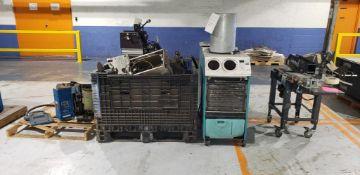 Scrap/Parts (2) Portable A/C Units, (1) Tape Machine, (1) Labeler & Tote of Labeler Parts