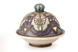 A LARGE METAL-MOUNTED MOROCCAN LIDDED DISH