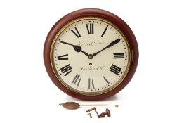 A LATE VICTORIAN MAHOGANY WALL CLOCK SIGNED HARRODS