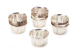 A SET OF 12 CHRISTOFLE SILVER PLATED FINGER BOWLS