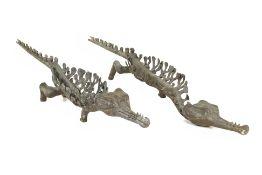 TWO LARGE METALWARE MODELS OF CROCODILES